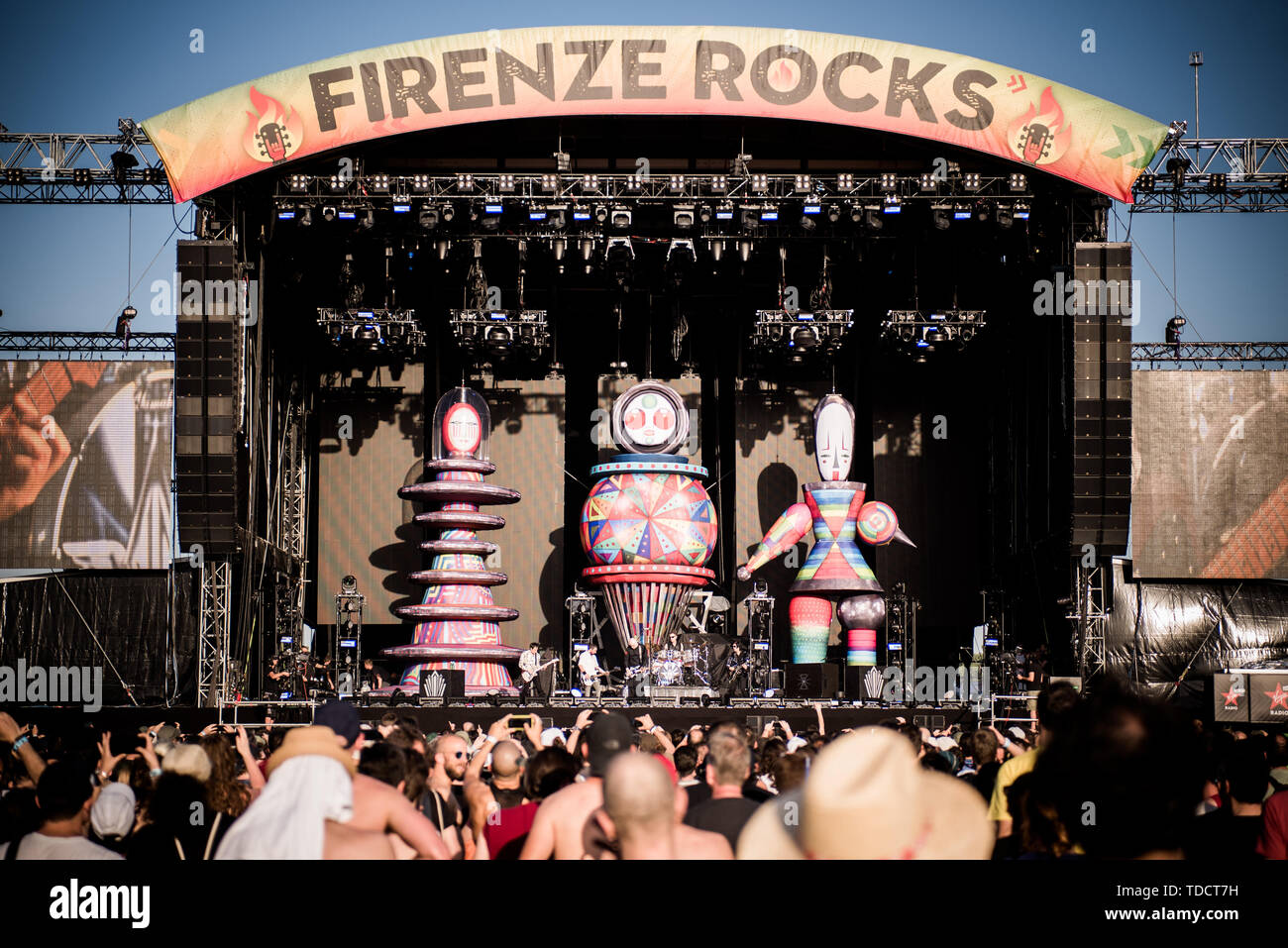 Florence,  Italy. 13th June, 2019. The American rock band Smashing Pumpkins, performing live on stage at the Firenze Rocks festival 2019 in Florence, Italy, opening for Tool Credit: Alessandro Bosio/Pacific Press/Alamy Live News - Stock Image