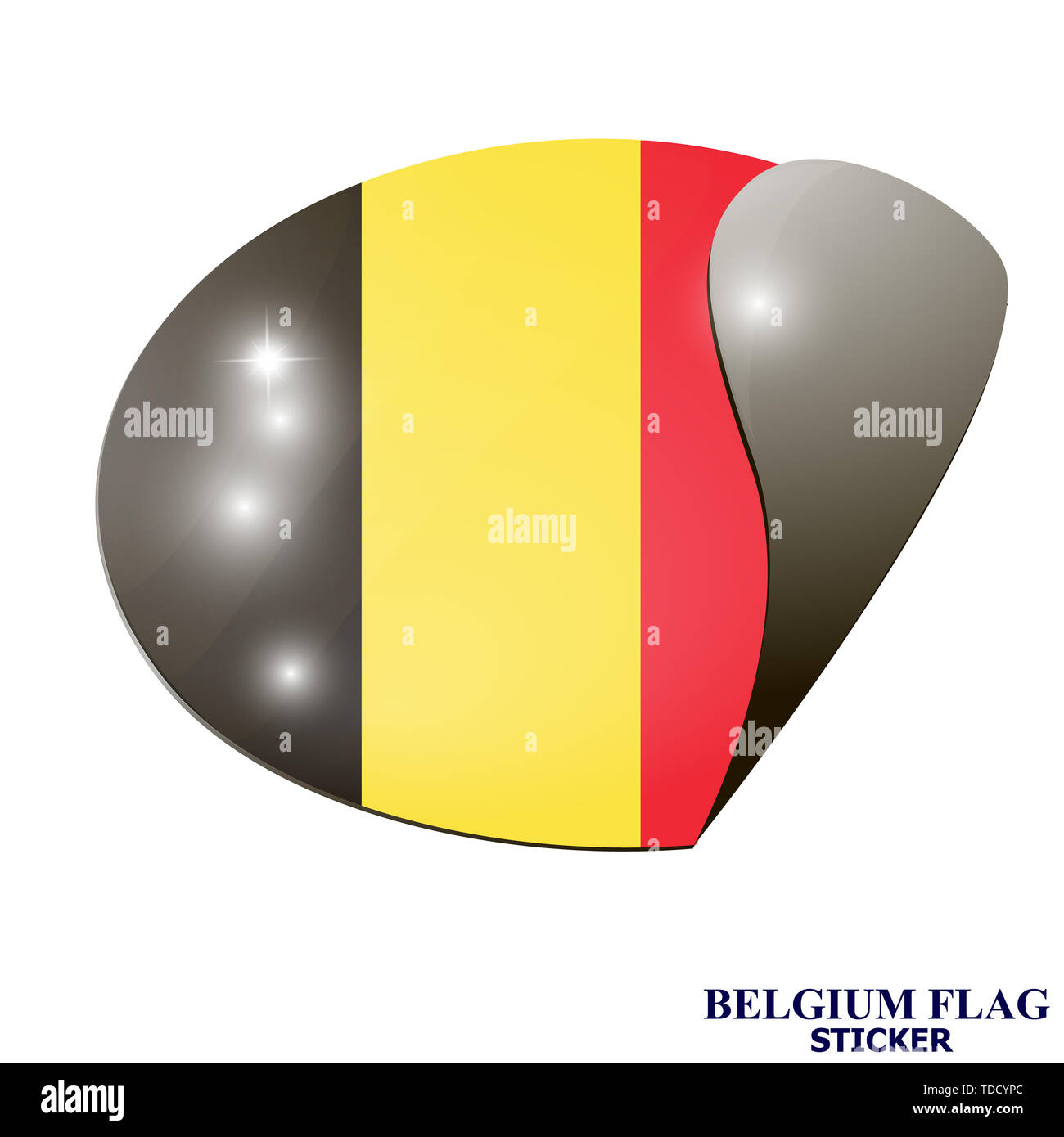 Banner with flag of Belgium. Colorful illustration with flags for web design. Illustration with white background. - Stock Image