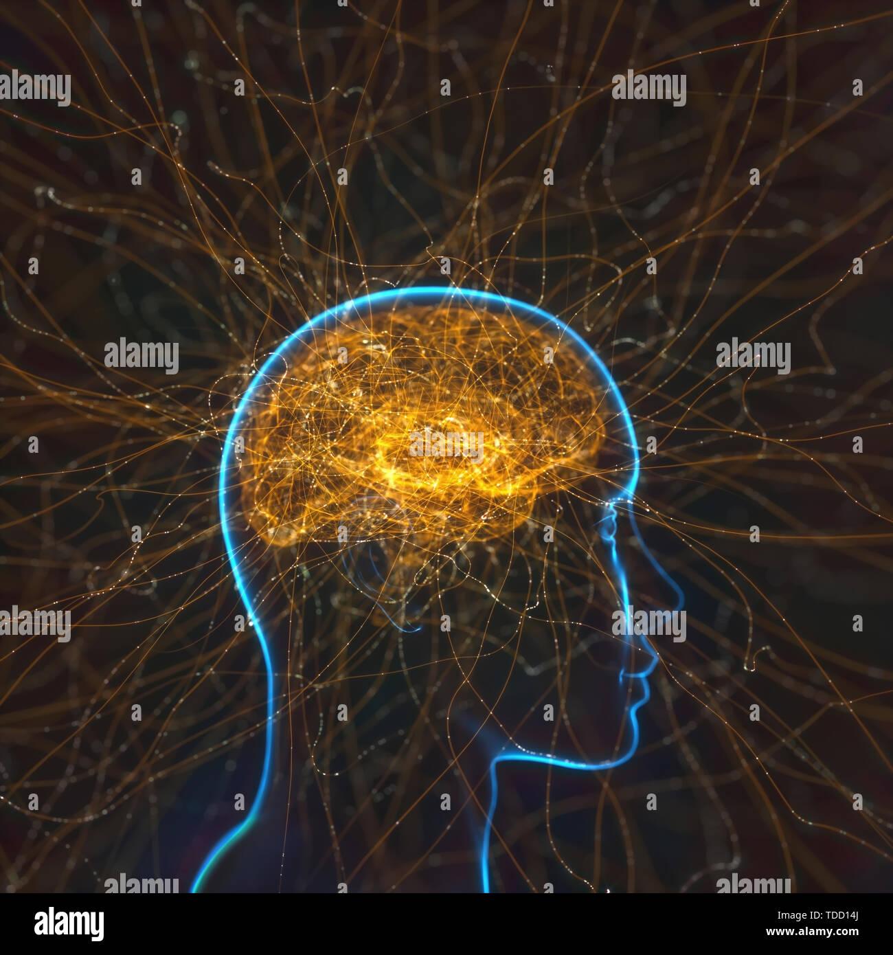 Neural network, conceptual illustration Stock Photo