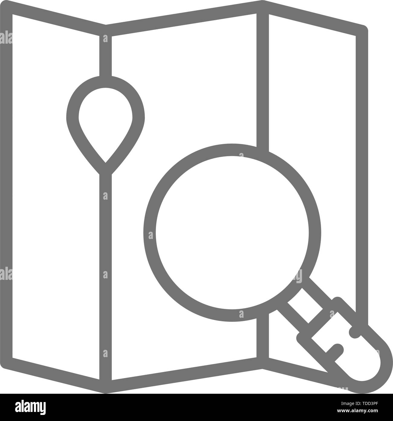 Map under a magnifying glass, navigation line icon. - Stock Image