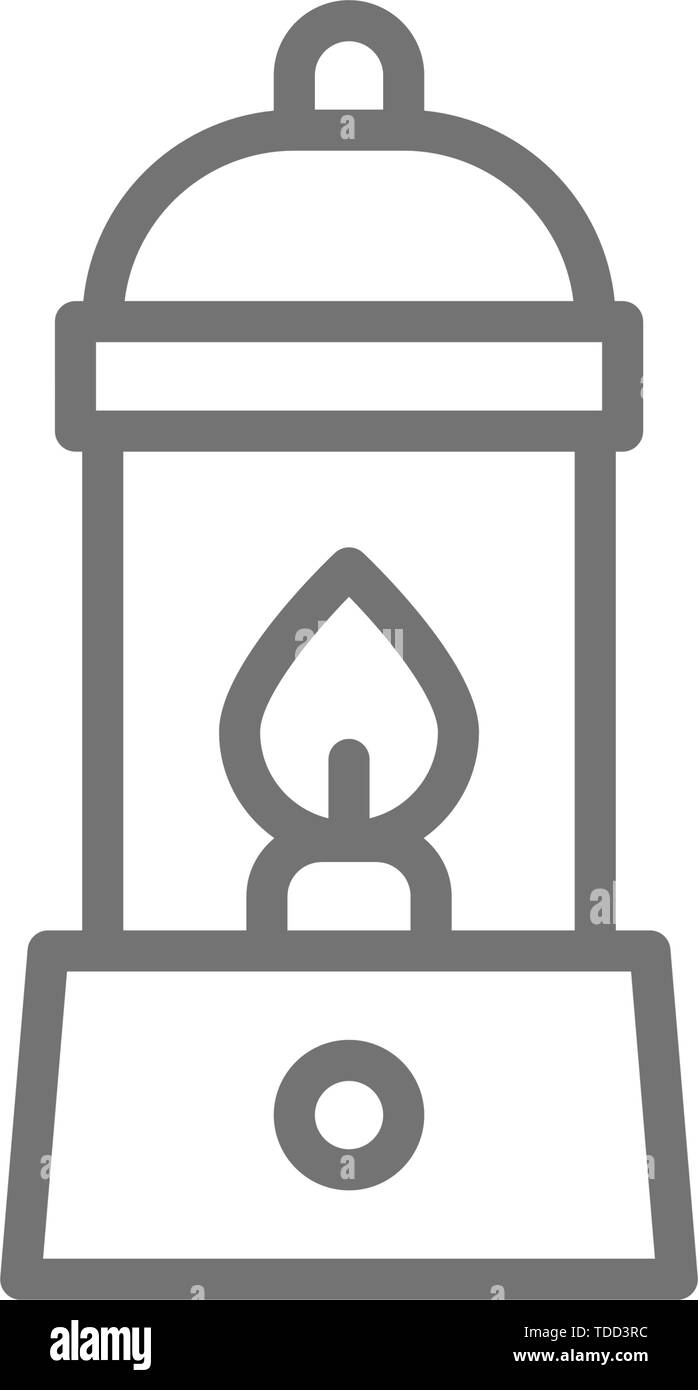 Camping lantern, gas lamp, camp line icon. - Stock Vector