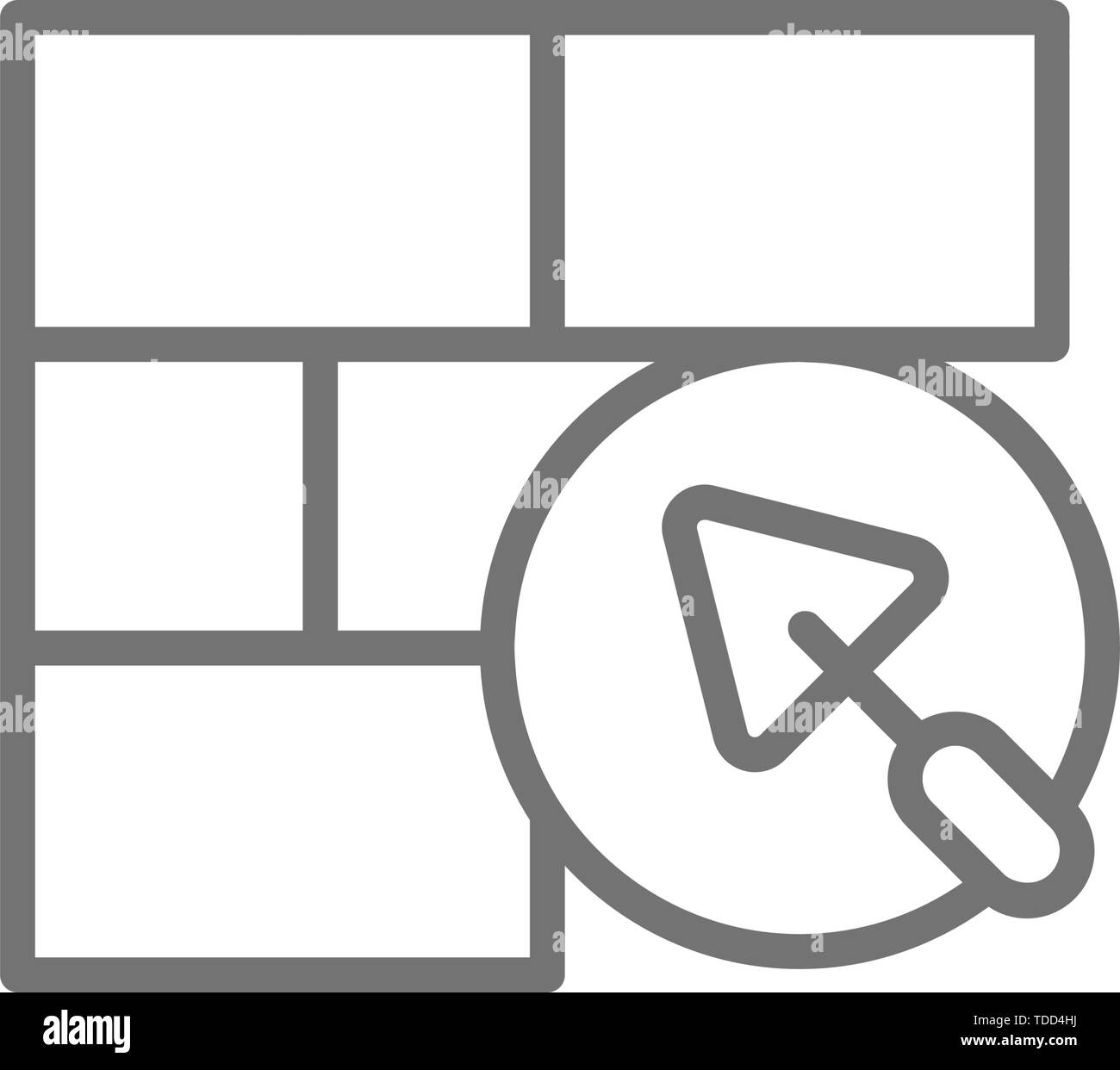 Brick wall with putty knife, repair bricklaying, construction line icon. Stock Vector