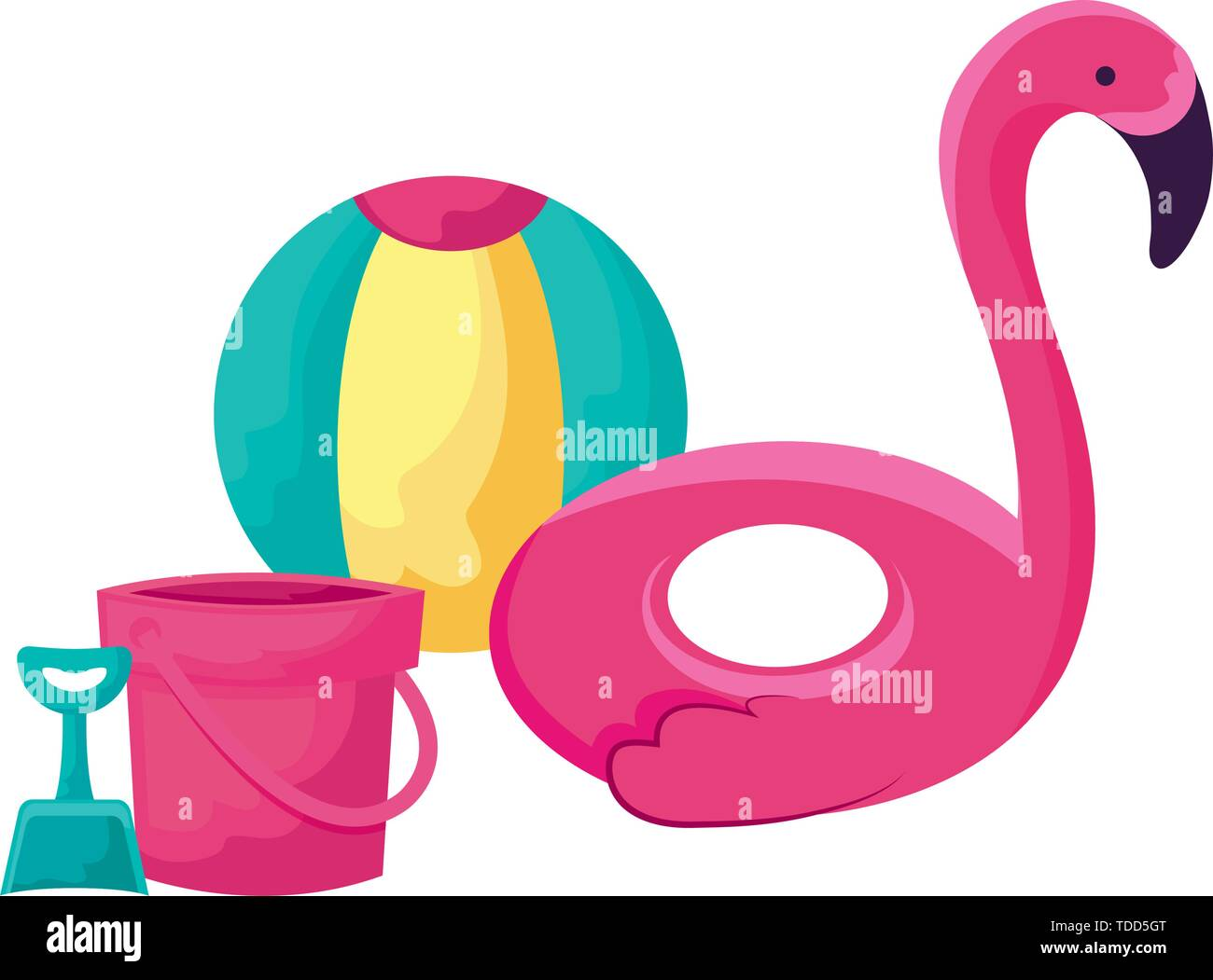 float flemish with ball and bucket vector illustration design - Stock Image