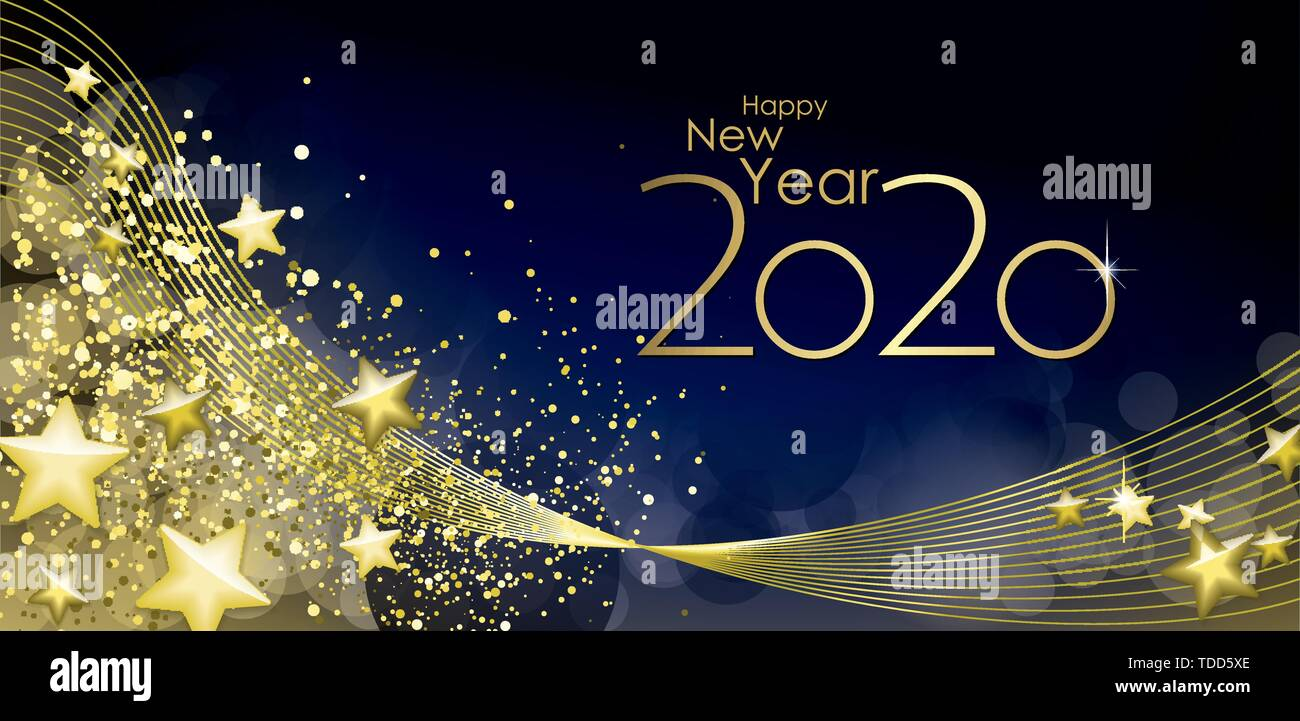 Happy New Year 2020 Greeting Card Vector Stock Vector Image Art Alamy