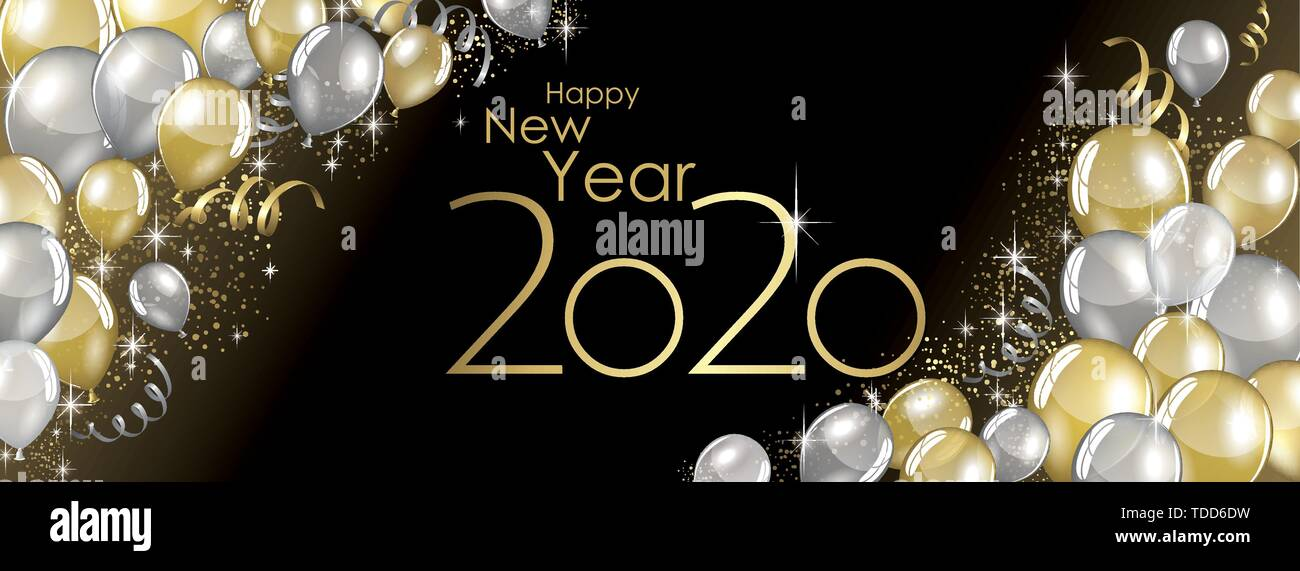Happy New Year 2020 Banner Background, Gold, Decoration ...