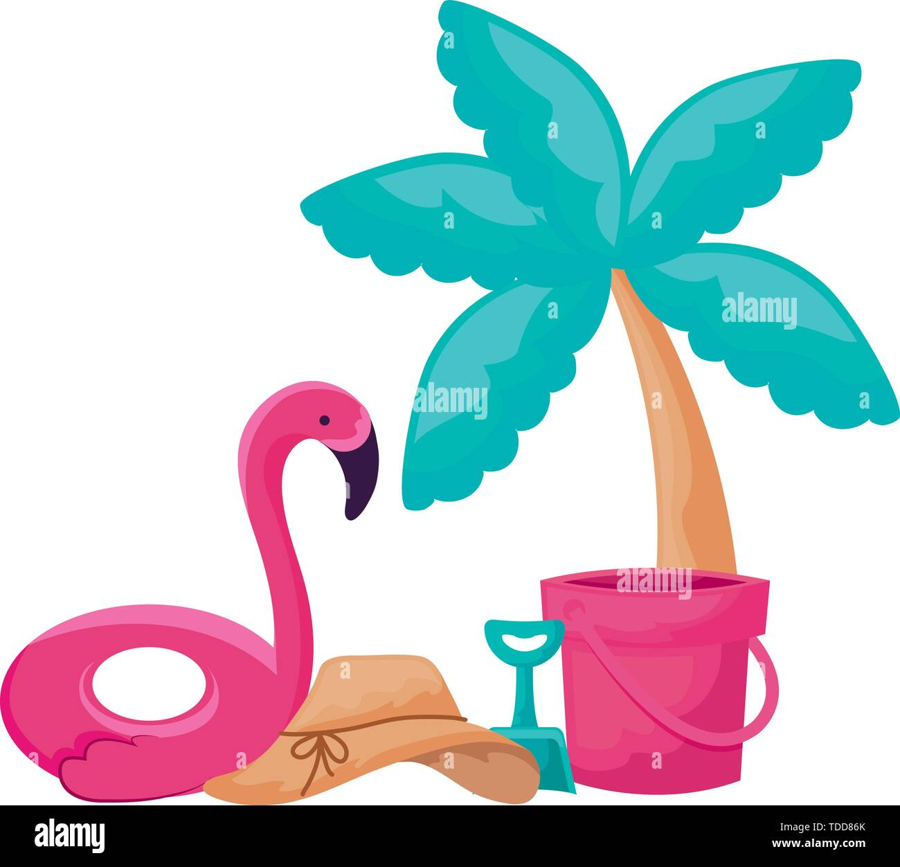 float flemish with palm tropical and icons vacation vector illustration design - Stock Image