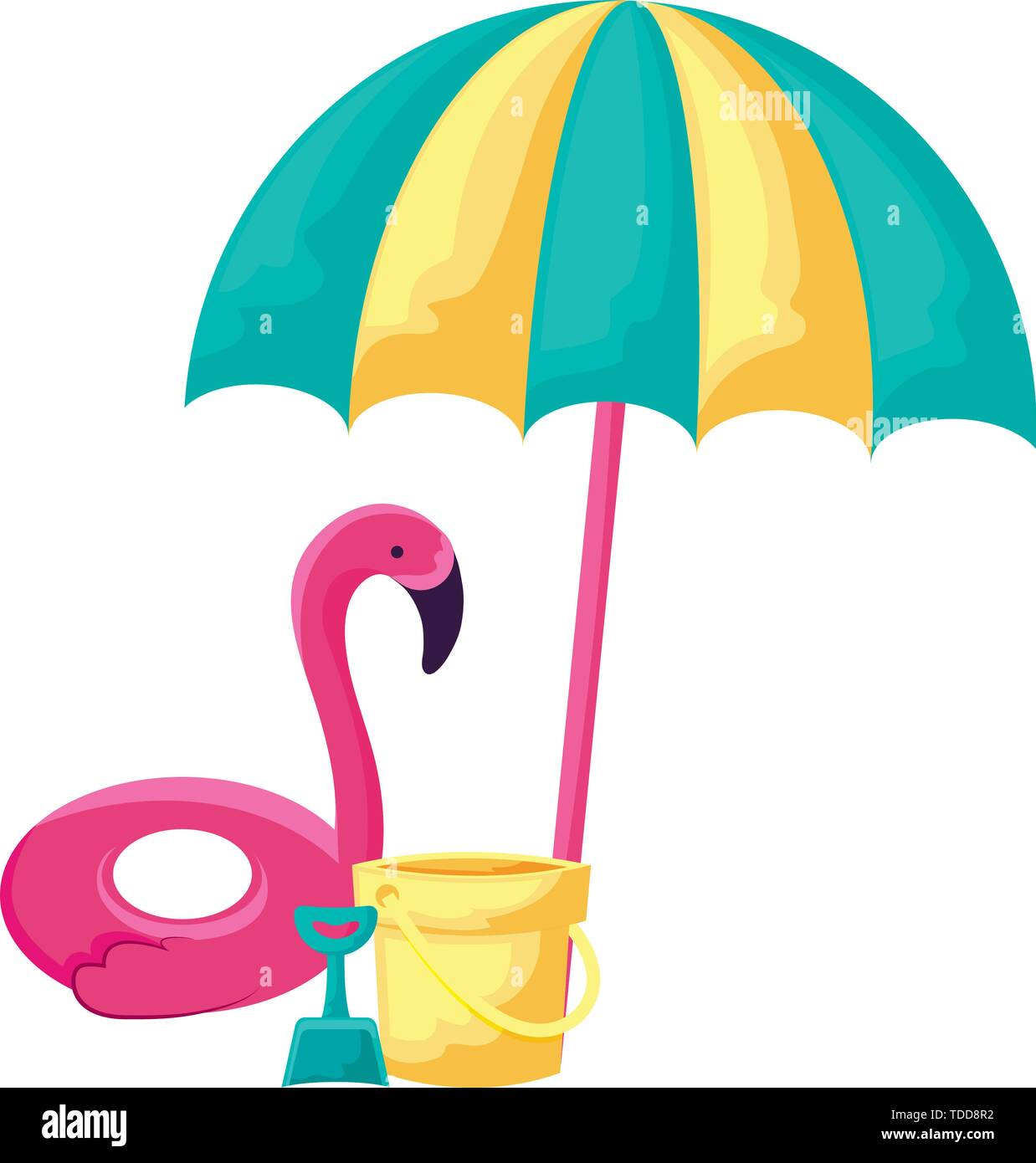 float flemish with umbrella and bucket vector illustration design - Stock Image
