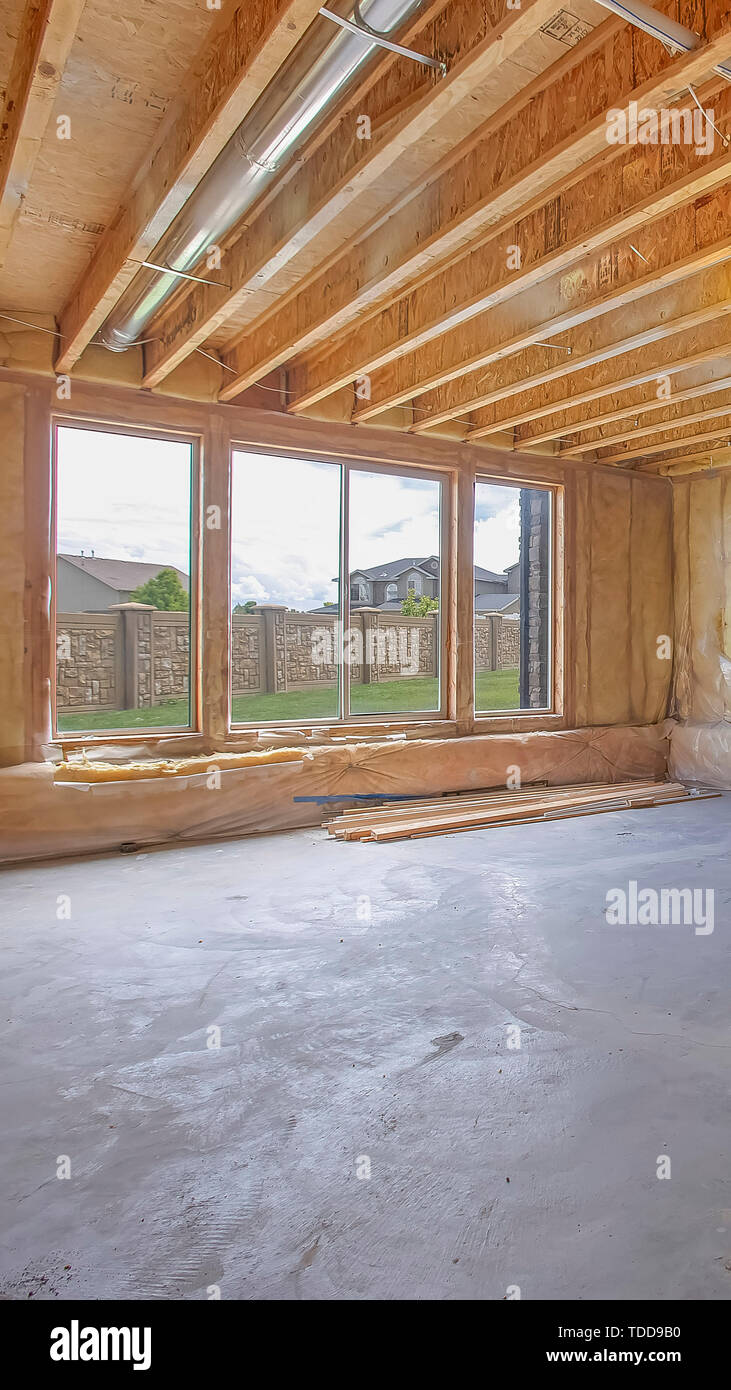 Vertical frame Unfinished house interior with air ...
