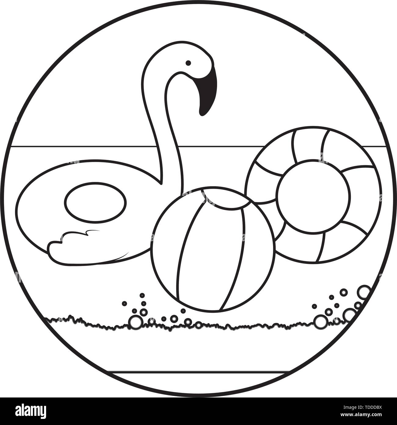 floats protections summer with ball of beach in beach vector illustration design - Stock Image