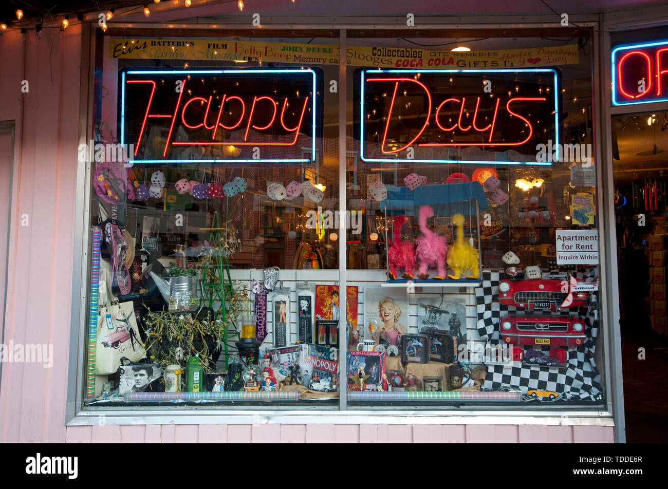 Happy Days gift shop in Deadwood, County Lawrence, South Dakota, USA - Stock Image