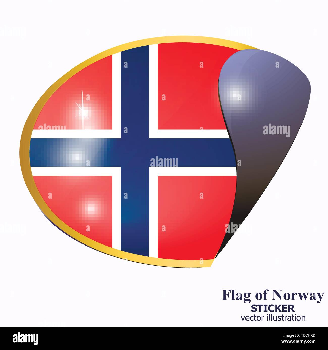 Sticker with flag of Norway. Colorful illustration with flags for web design. Illustration with white background. - Stock Image