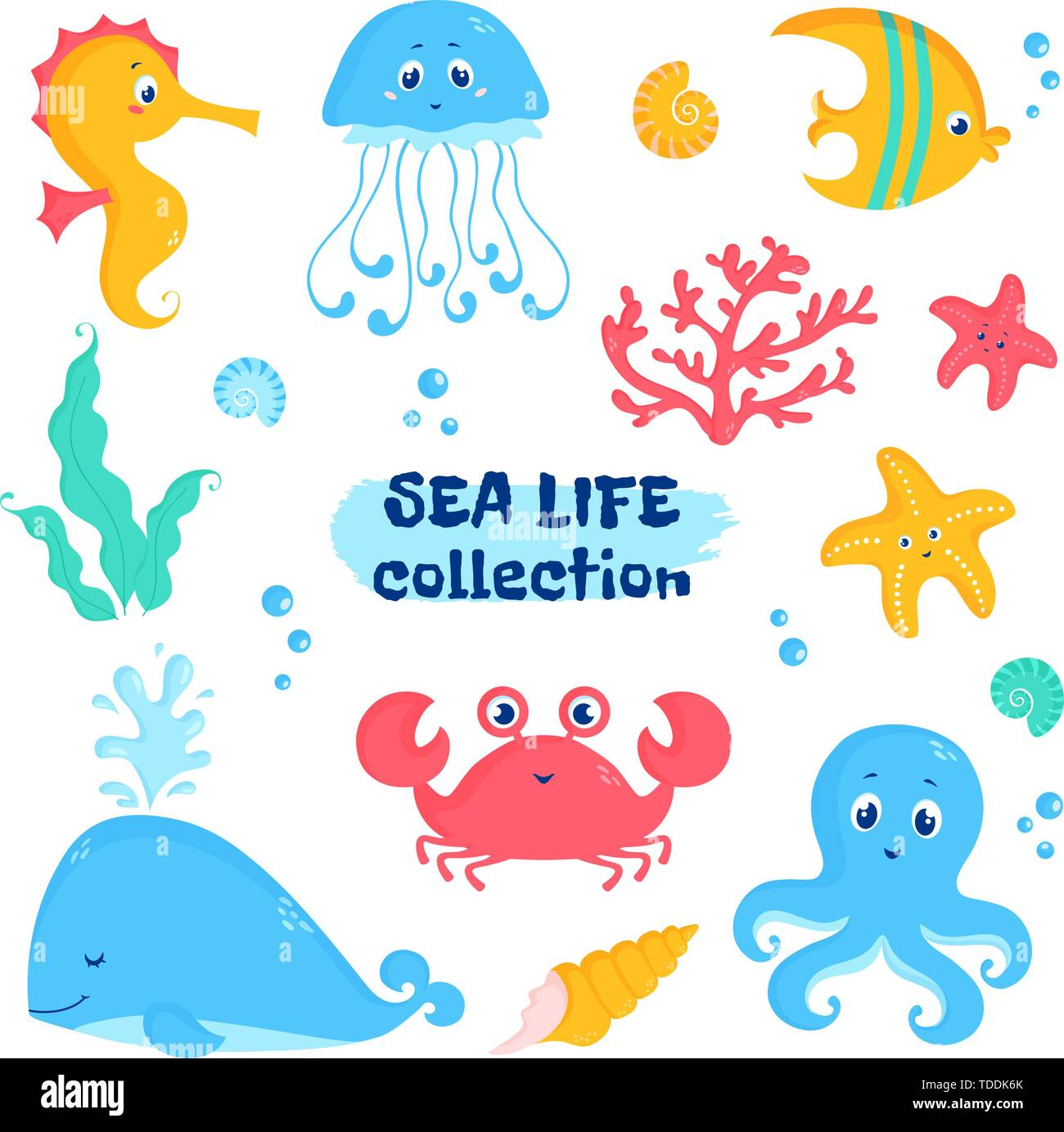 Sea animals and plants elements - whale, fish, crab, seahorse, octopus, starfish, jellyfish, shells, coral, seaweeds. Vector set of cute illustrations - Stock Image