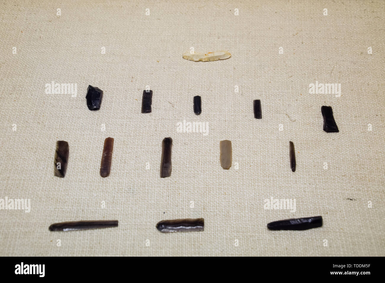 Exhibits of the Antalya Museum of Antiquities, stone scrapers and knives and pottery. - Stock Image