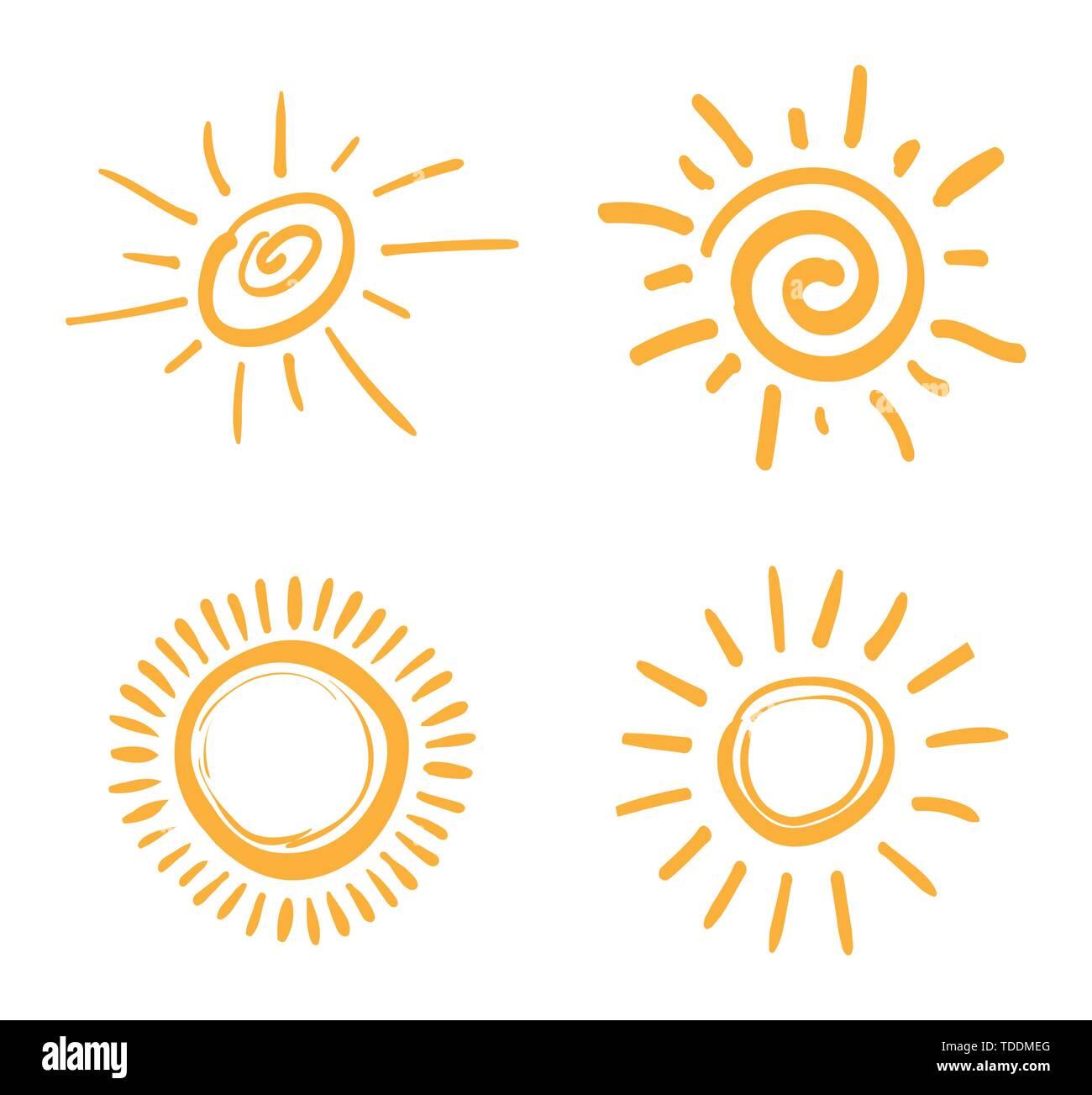 Four painted suns. Vector solar symbols set. - Stock Image