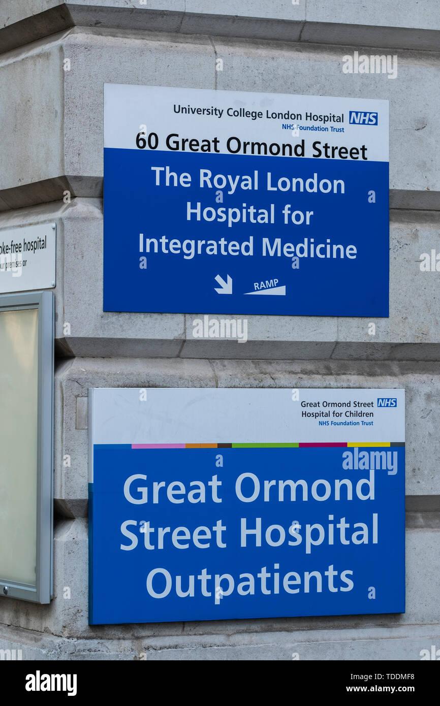 Great Ormond Street Hospital for Children, Bloomsbury, London, England, U.K. - Stock Image