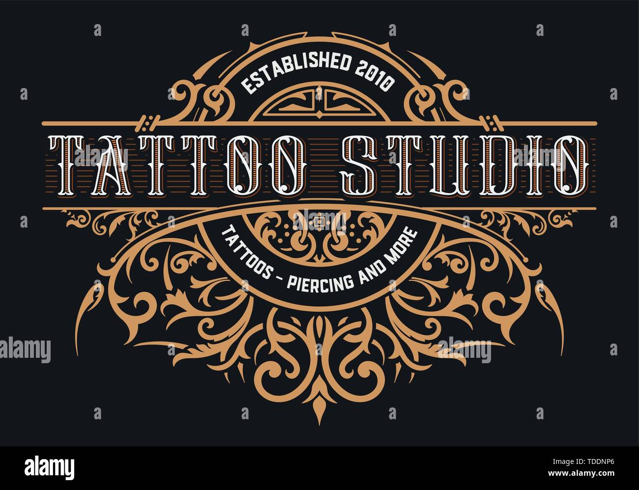 Tattoo Logo Template Old Lettering On Dark Background With Floral Ornaments Stock Vector Image Art Alamy Here you'll find hundreds of high quality tattoo logo templates to download. https www alamy com tattoo logo template old lettering on dark background with floral ornaments image249238142 html