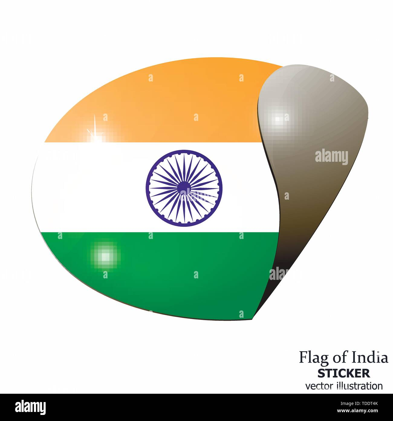 Bright sticker with flag of india happy india day button bright illustration with flag