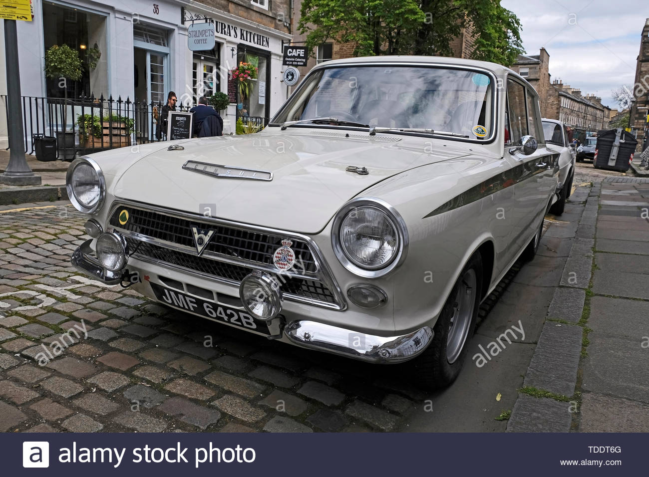 Classic Ford Consul Cortina from 1964 on display at the West End Classic Vehicle event in Edinburgh, Scotland Stock Photo