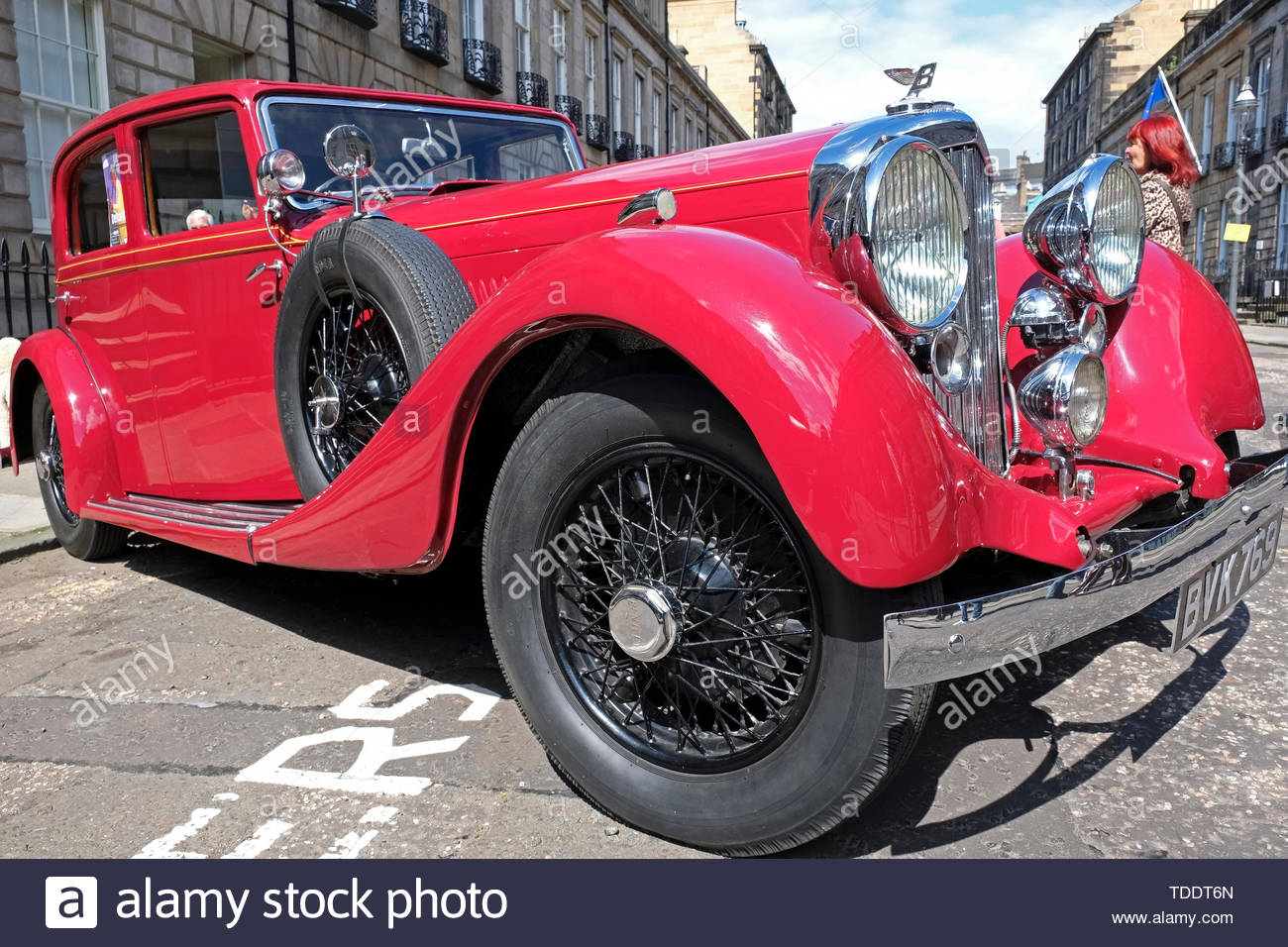 Classic Bentley from 1920s on display at the West End Classic Vehicle event in Edinburgh, Scotland - Stock Image