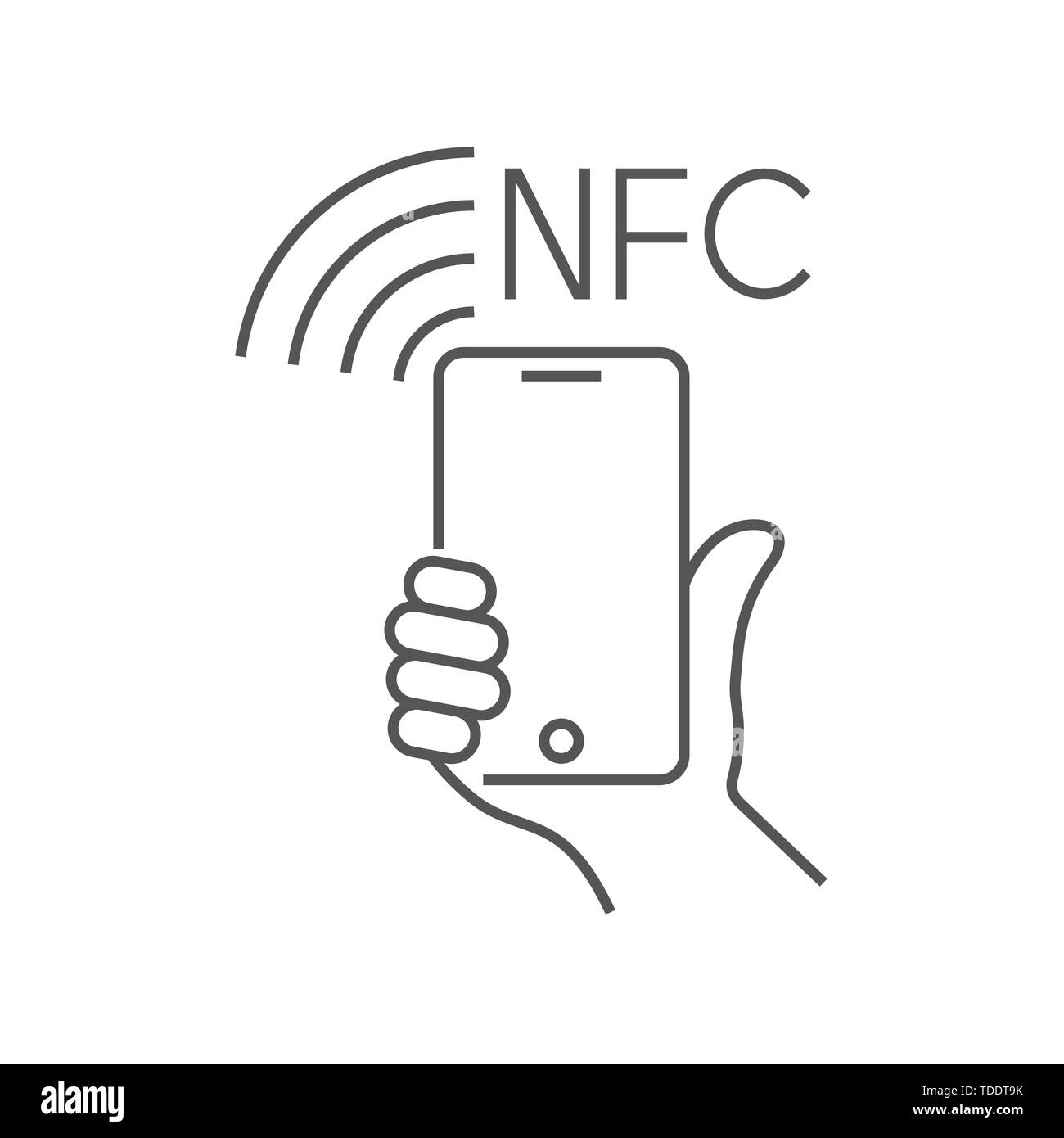 NFC technology payment, vector ounline icon. Hand and Smartphone. Contacless, wireless payment with credit plastic card, smartphone, POS terminal Stock Vector