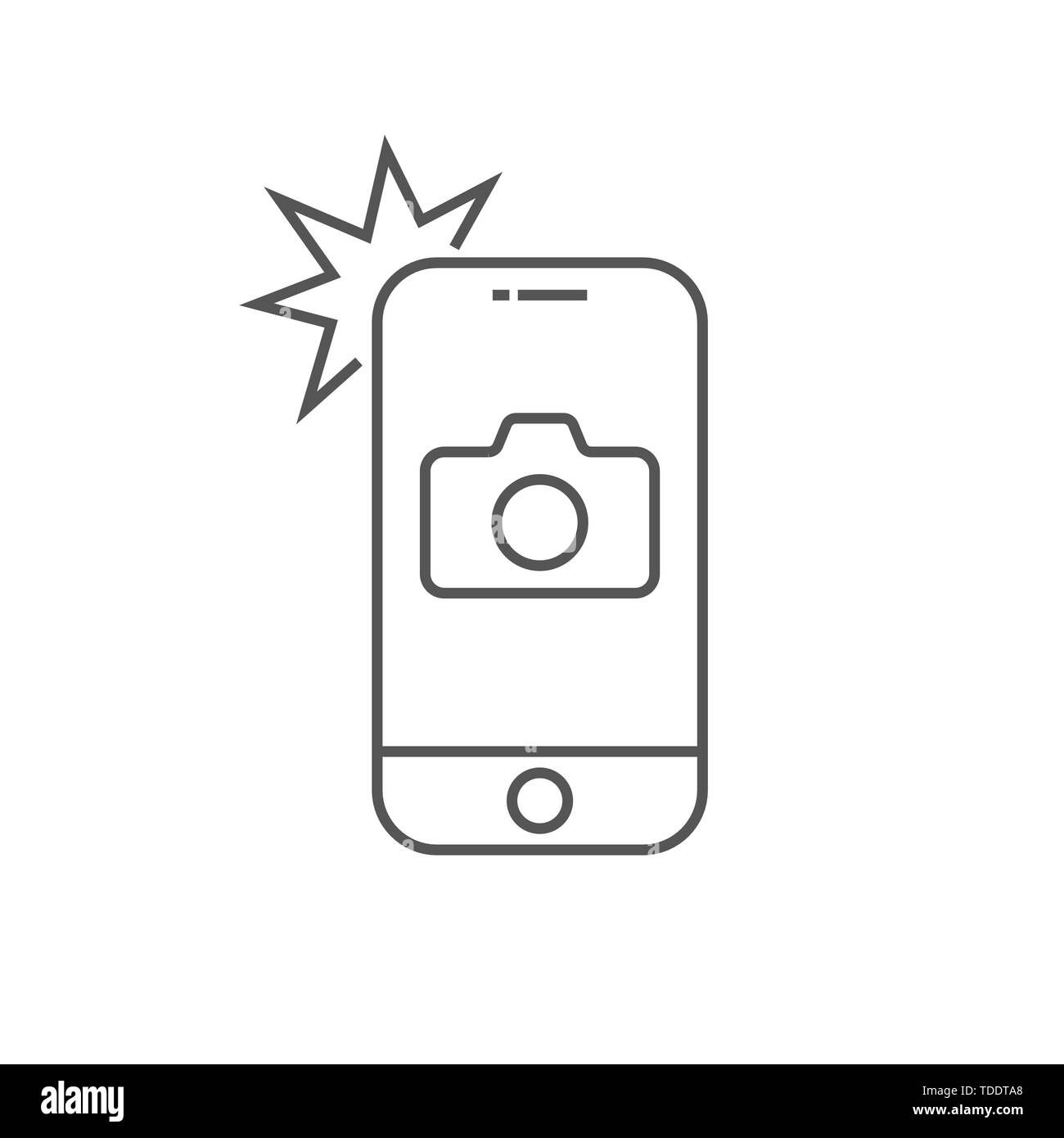 Simple icon smartphone with camera and flash. Modern phone with photo sign for web design. Vector outline element isolated. Editable Stroke. EPS 10. - Stock Image