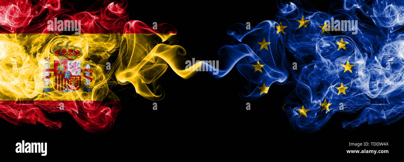 Spain vs European Union, EU smoky mystic flags placed side by side. Thick colored silky smokes flag of Spanish and European Union, EU - Stock Image