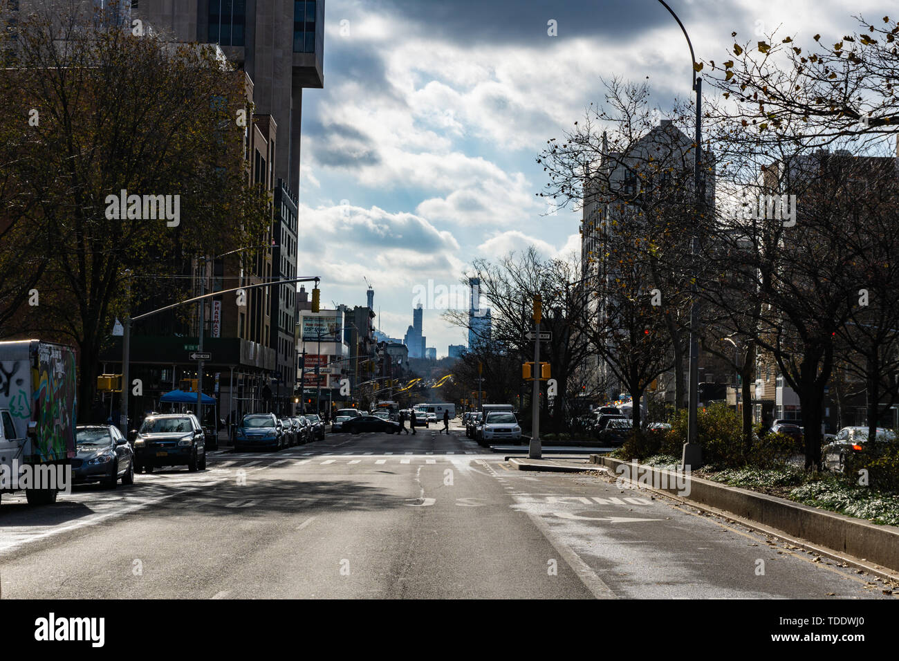 NEW YORK CITY - NOVEMBER 2018: Seventh Avenue (Fashion Avenue) and known as Adam Clayton Powell Jr. Boulevard in harlem - Stock Image