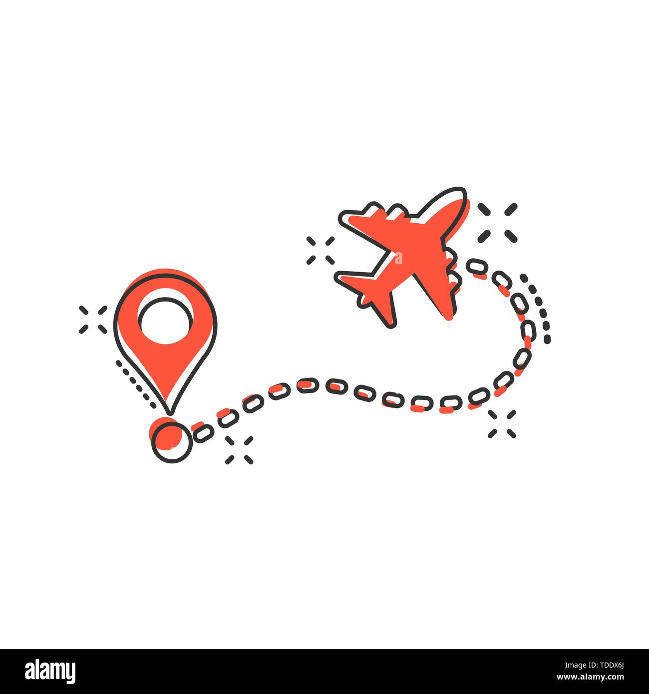 Airplane Flight Route Icon In Comic Style Travel Line Path Vector