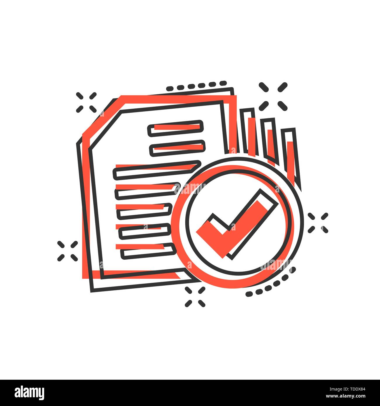 Compliance document icon in comic style  Approved process