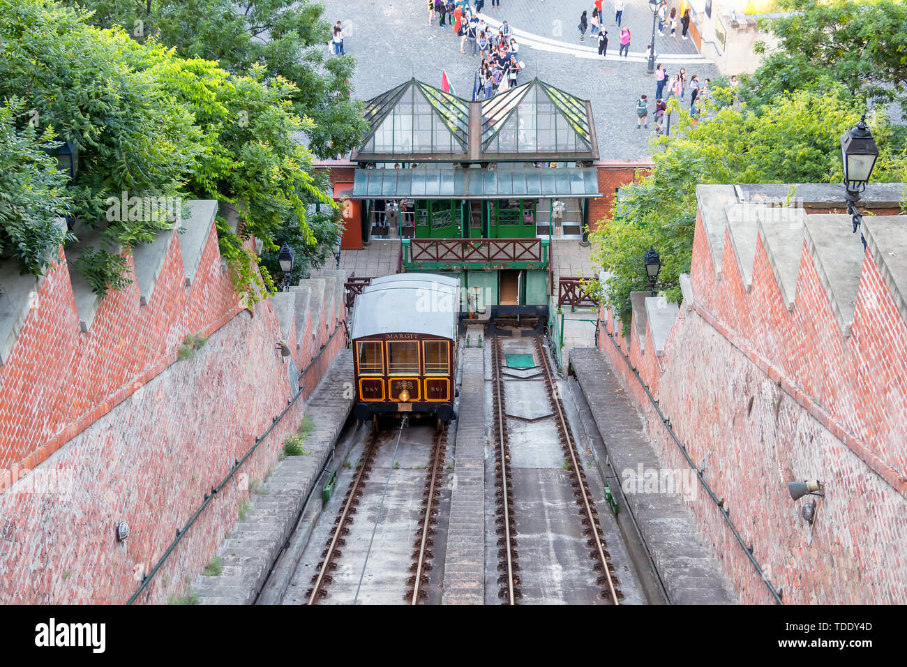 Funicular tram train going to Buda Castle in Budapest Stock Photo