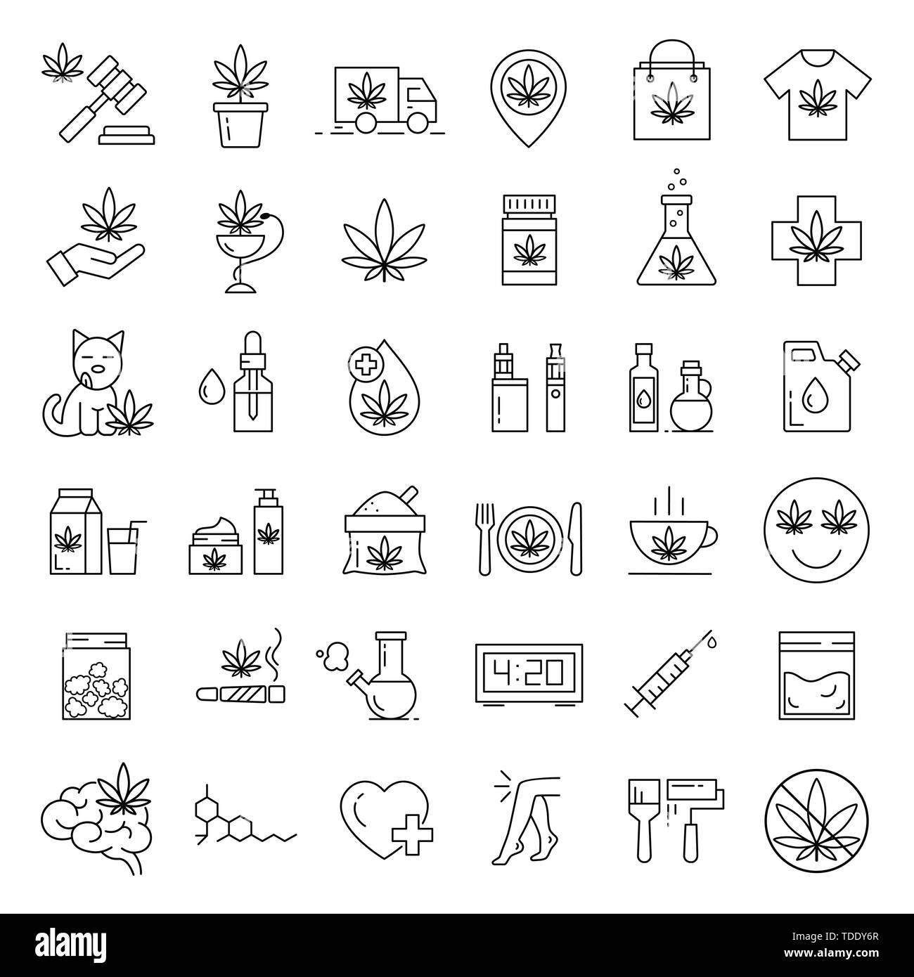 Marijuana icons. Set of medical cannabis icons. Drug consumption. Marijuana Legalization. Isolated vector illustration on white background. - Stock Image
