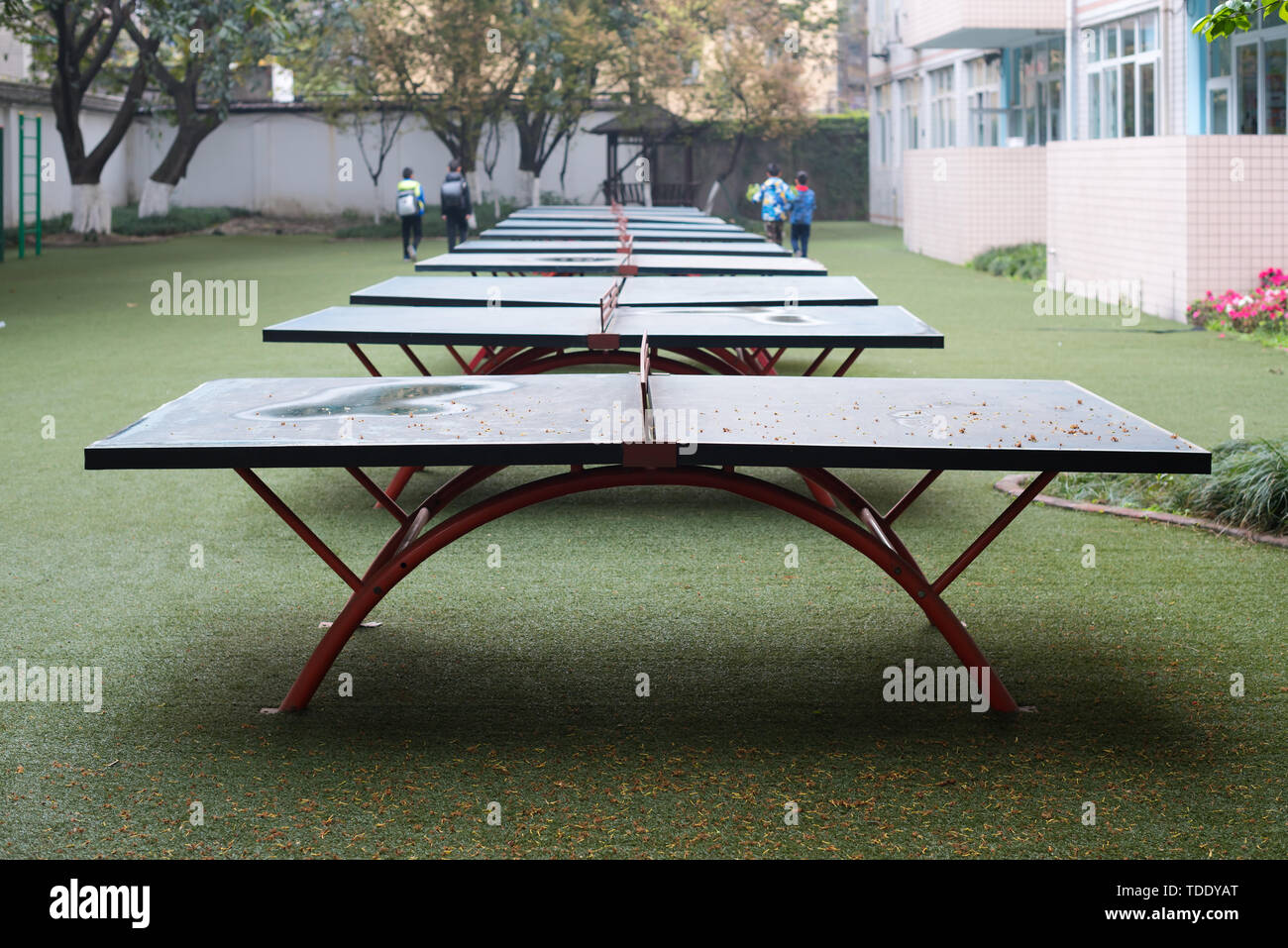 Chengdu, Sichuan Province, China - March 31, 2017: a row of ping pong tables in a chinese school - Stock Image