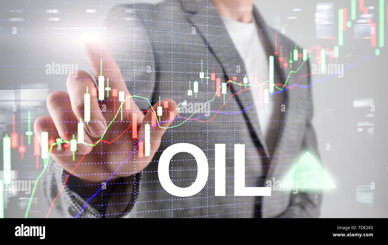 Oil trend up. Crude oil price stock exchange trading up. Price oil up. Arrow rises. Abstract business background. - Stock Image