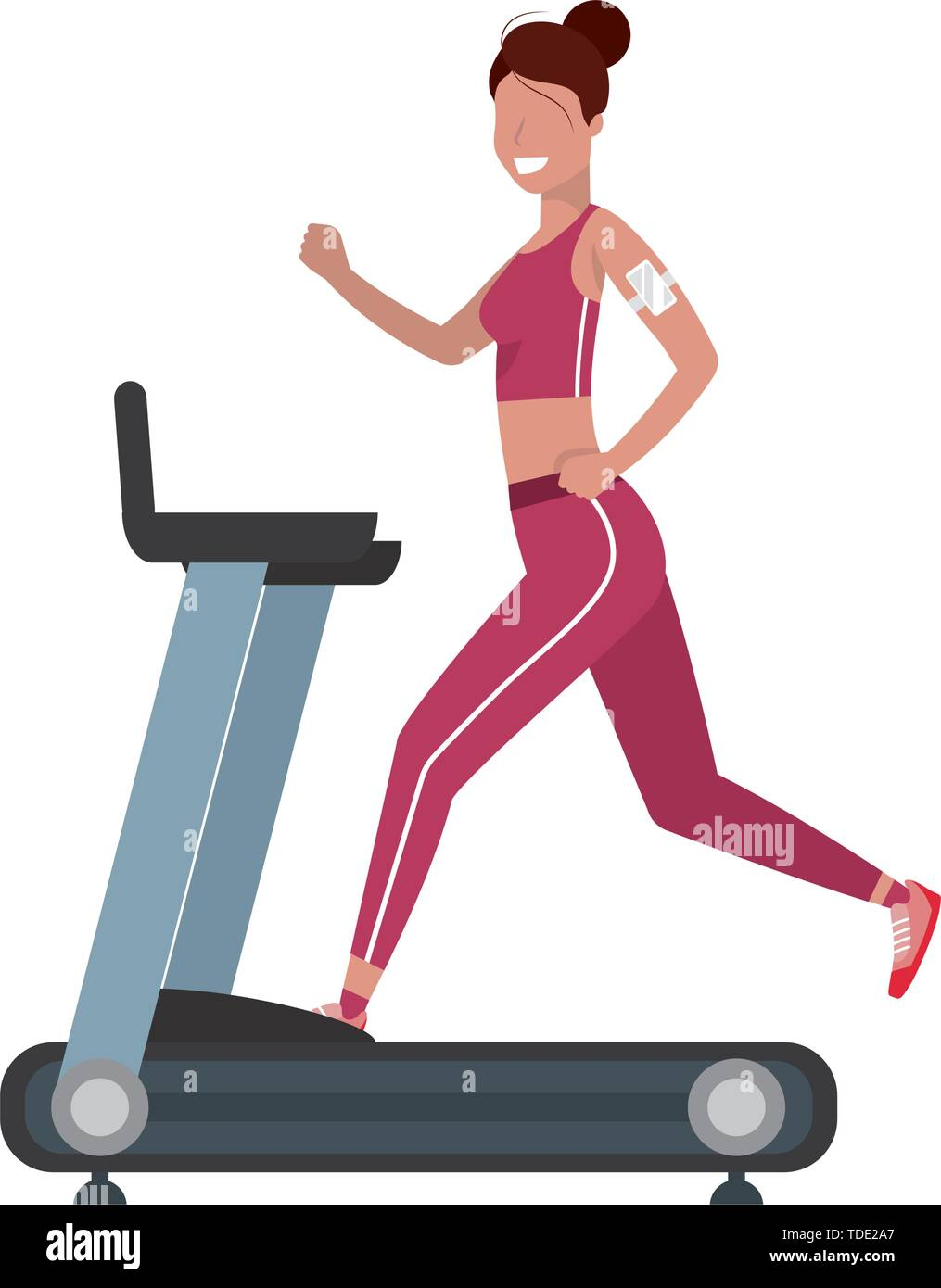 Fitness Exercise Woman Running Over Treadmill Workout Healthy Fit Lifestyle Cartoon Vector Illustration Graphic Design Stock Vector Image Art Alamy