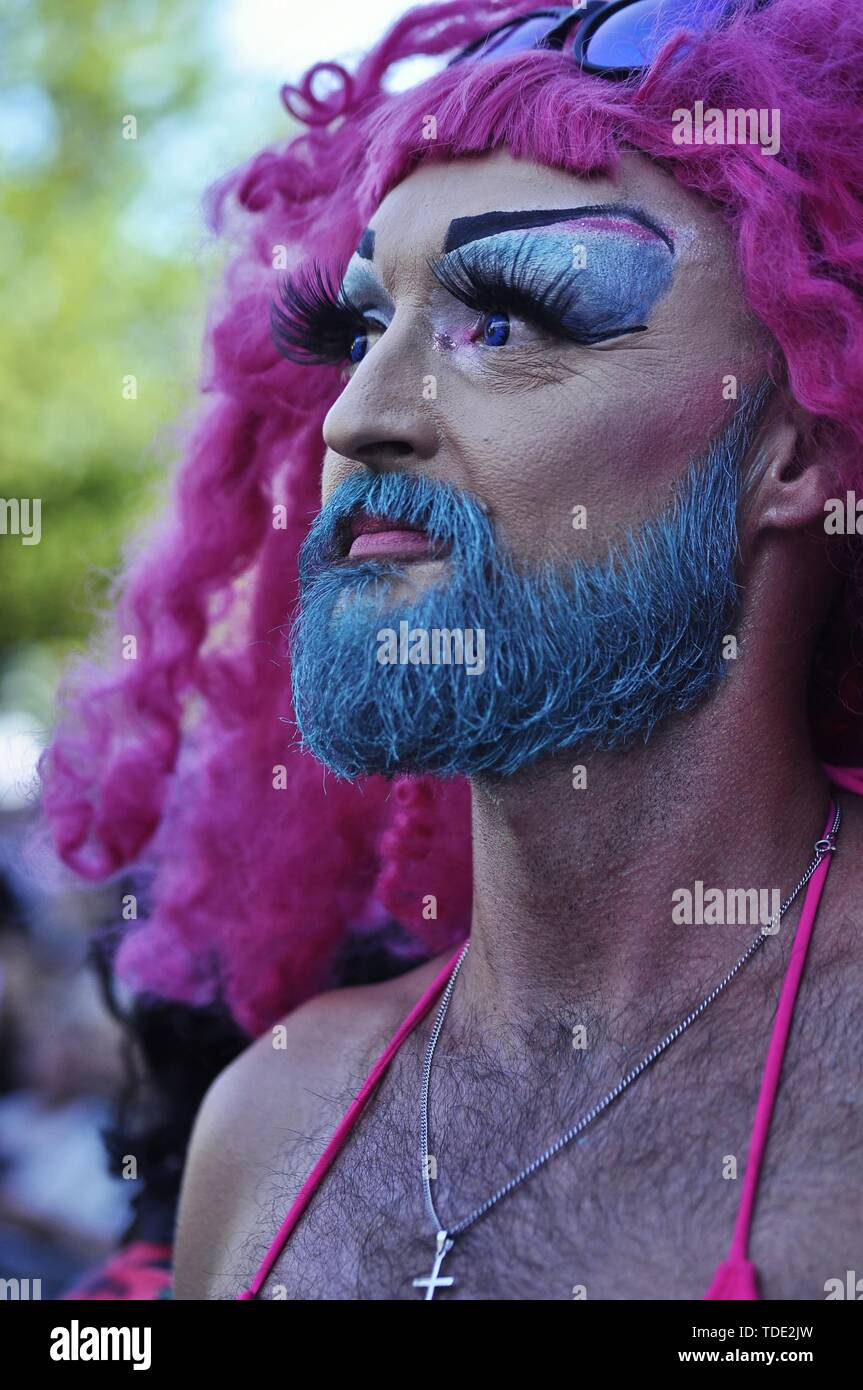 Amsterdam, Netherlands - August 4, 2018: Portrait at the drag olympics, during the Pride 2018 annual lgbtq event - Stock Image