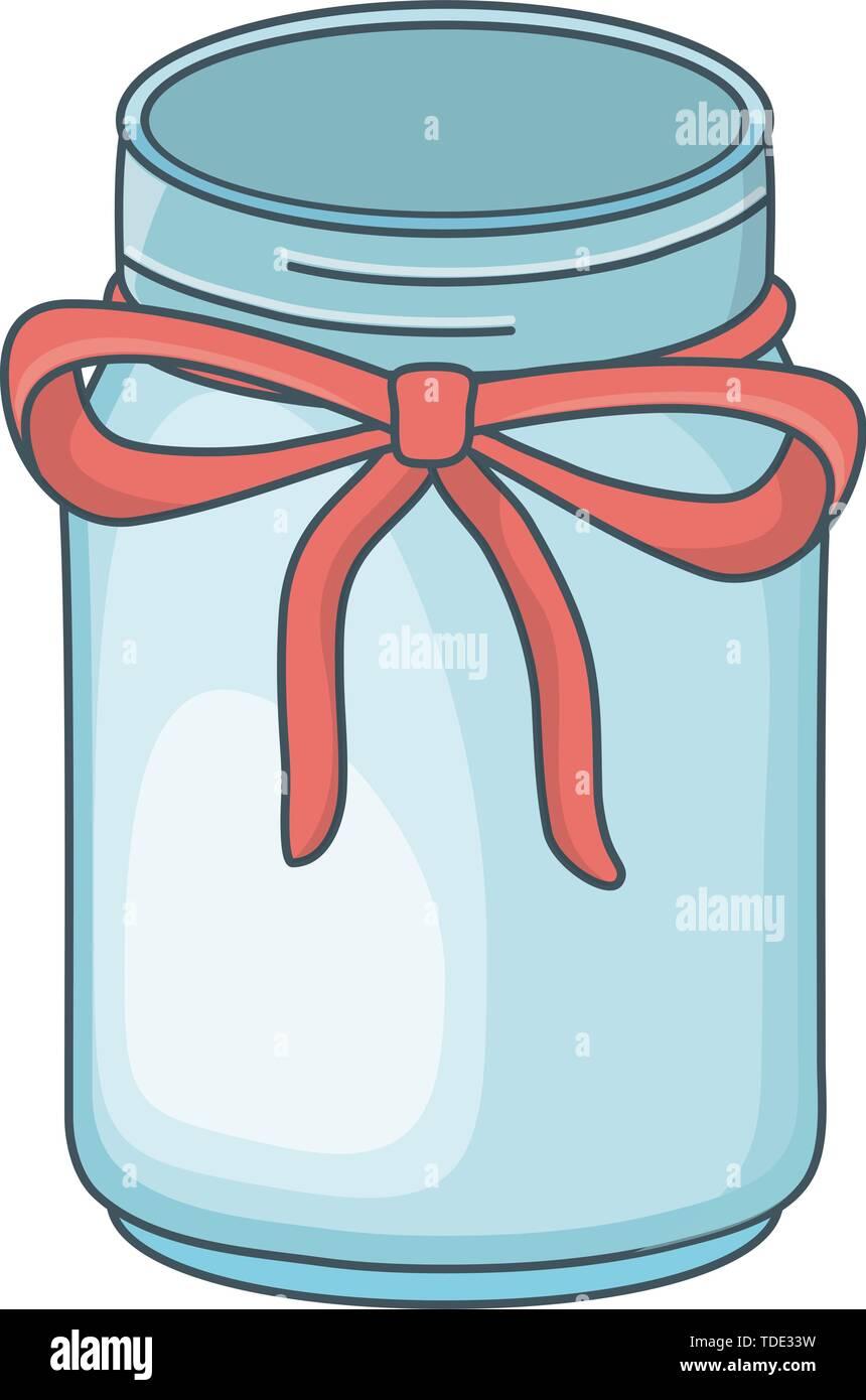mason jar bottle cartoon vector illustration graphic design - Stock Image