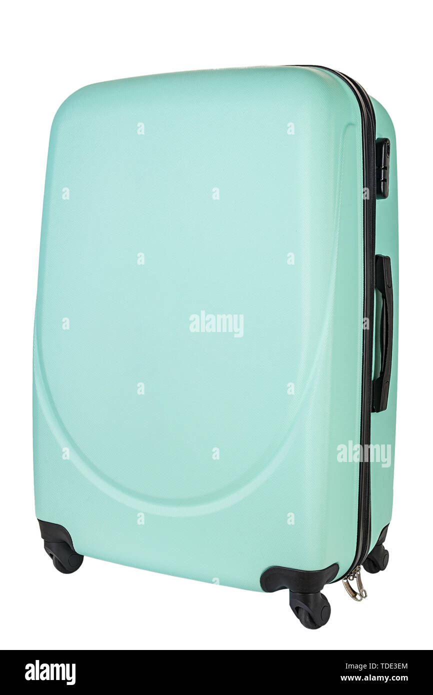 Large polycarbonate suitcase isolated on white. File contains clipping path - Stock Image