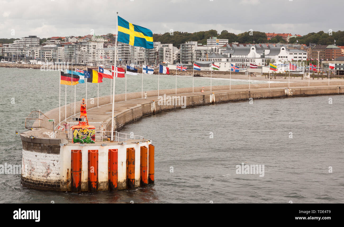 Various national flags in Sweden. - Stock Image