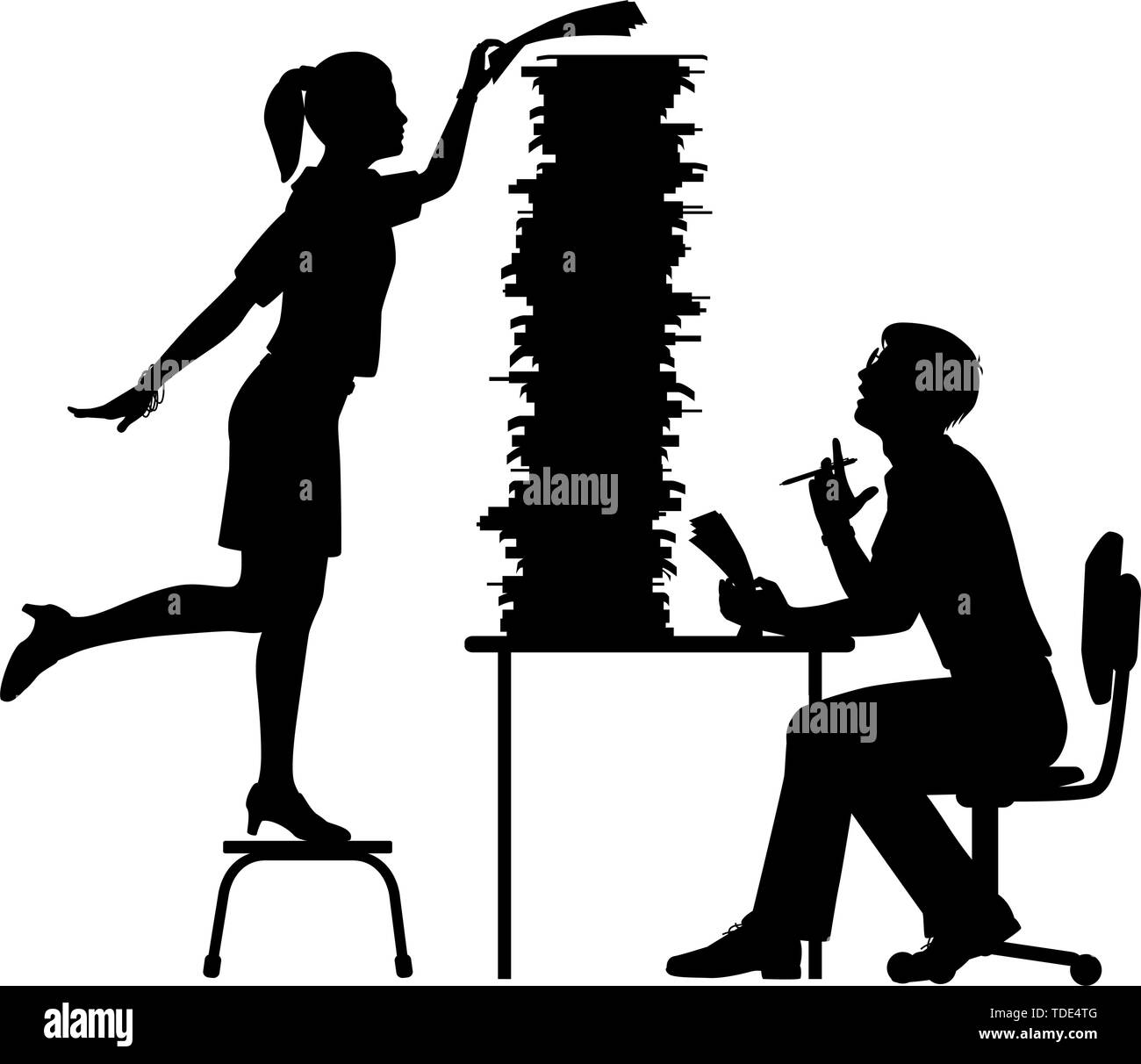 Editable vector silhouette of a secretary adding to the excessive work pile of an office worker with figures as separate objects - Stock Image
