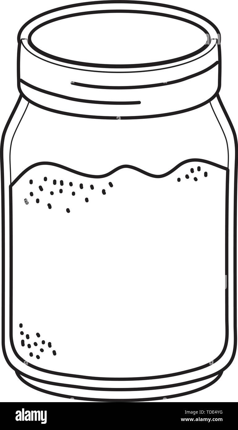 glass mason jar with earth inside cartoon vector illustration graphic design - Stock Image