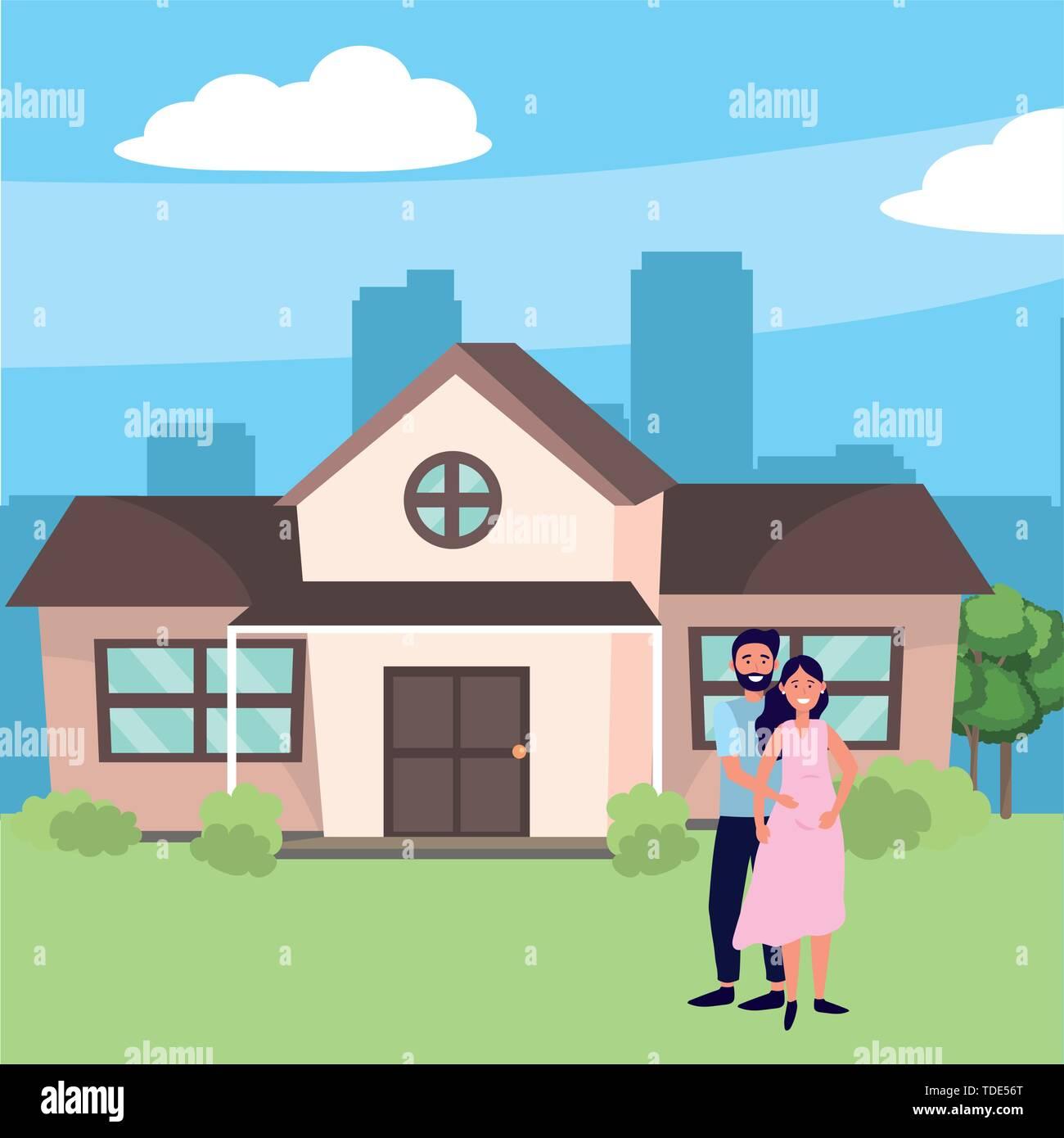 Pregnant Happy Family Couple At House Home Cartoon Vector