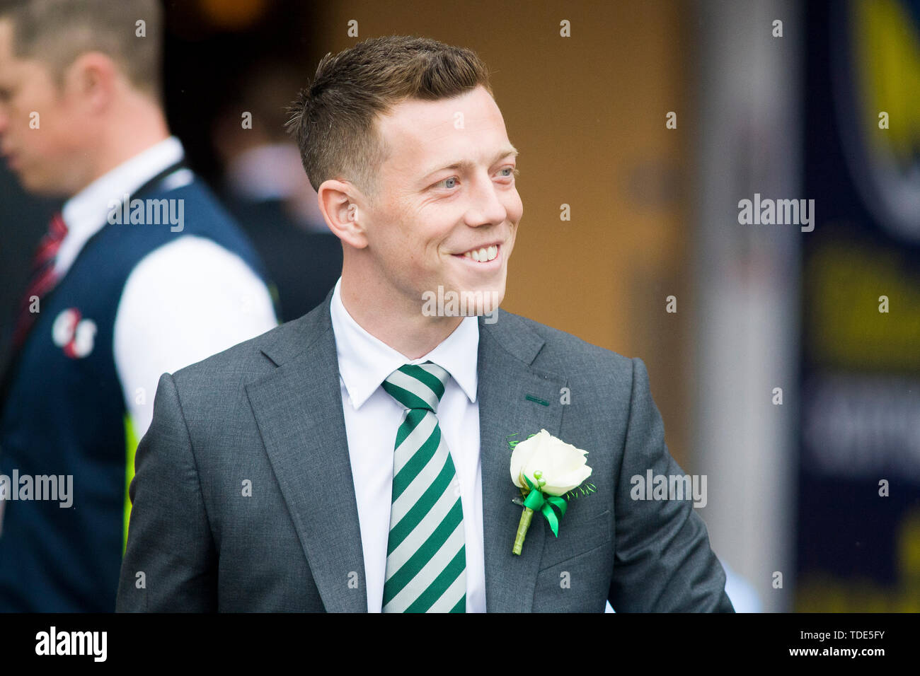 Glasgow, Scotland, May 25th 2019. Callum McGregor of Celtic arrives ahead of the William Hill Scottish Cup final between Celtic and Hearts at Hampden Park on May 25th 2019 in Glasgow, Scotland. Editorial use only, licence required for commercial use. No use in Betting, games or a single club/league/player publication. Credit: Scottish Borders Media/Alamy Live News - Stock Image