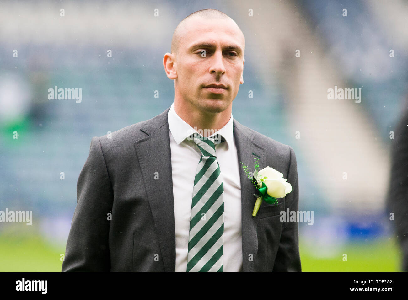 Glasgow, Scotland, May 25th 2019. Scott Brown of Celtic arrives ahead of the William Hill Scottish Cup final between Celtic and Hearts at Hampden Park on May 25th 2019 in Glasgow, Scotland. Editorial use only, licence required for commercial use. No use in Betting, games or a single club/league/player publication. Credit: Scottish Borders Media/Alamy Live News Stock Photo