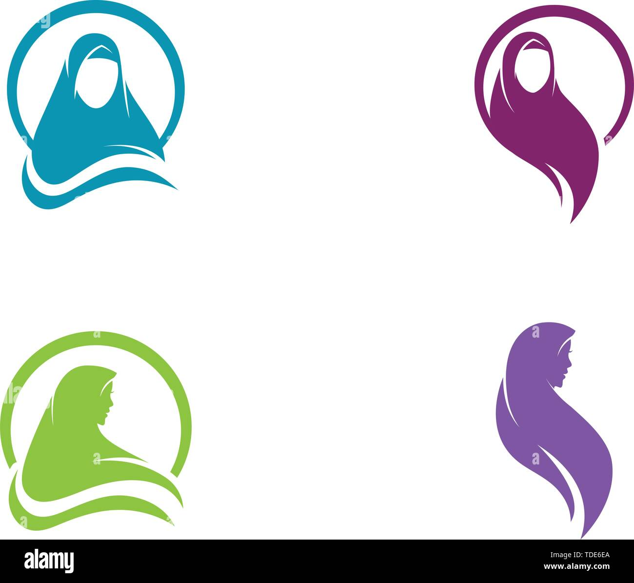 Muslimah hijab Logo template vector illustration design Stock