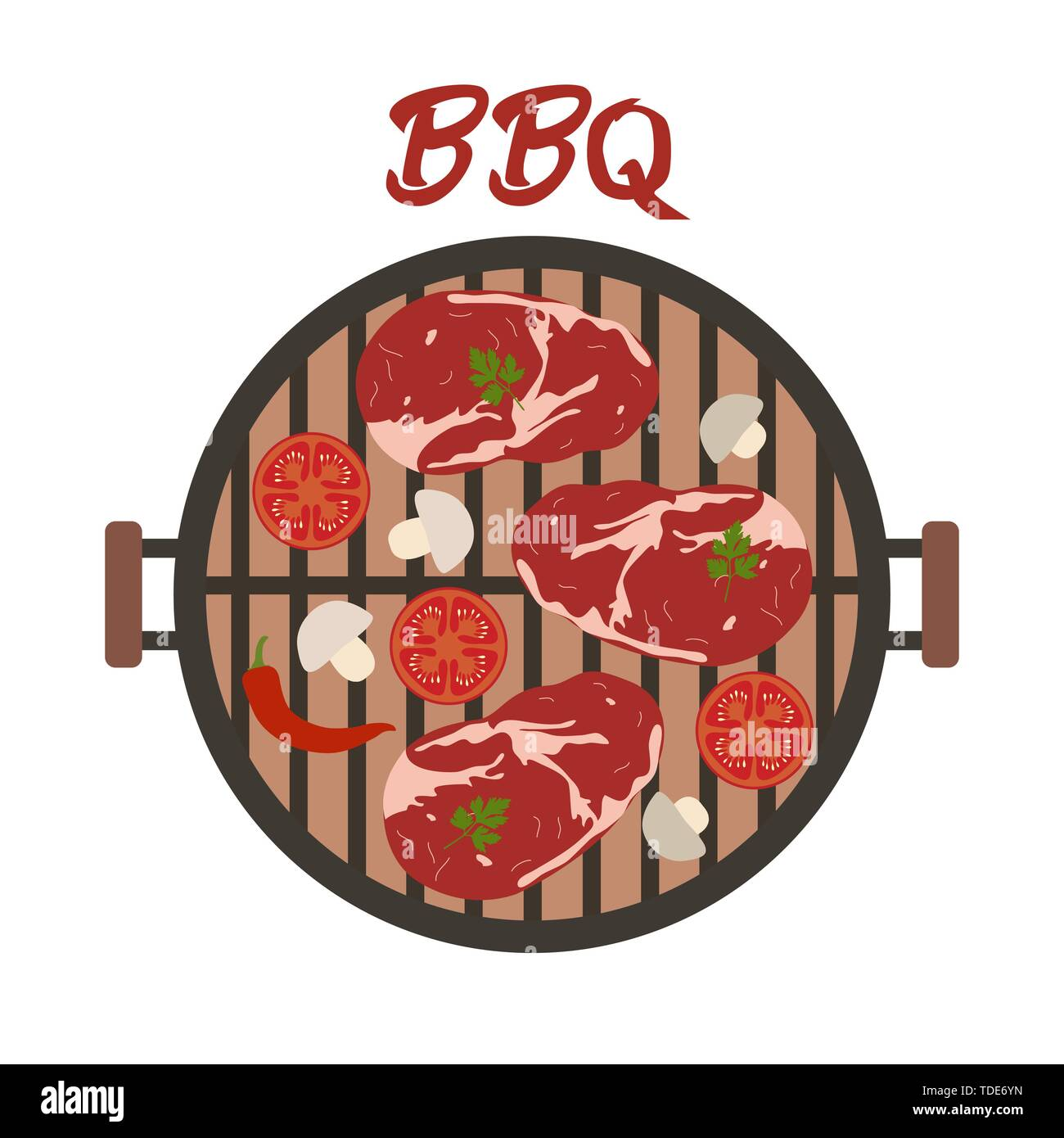 Vector illustration with round barbecue grill top view with meat and vegetables. BBQ party background. Design for party card, banner, poster or print. - Stock Image