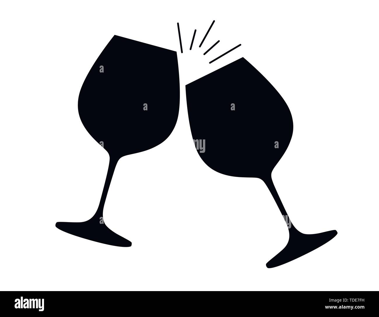 Black Silhouette Two Wine Glasses With Red Wine Cheers Flat Vector Illustration On White Background Stock Vector Image Art Alamy