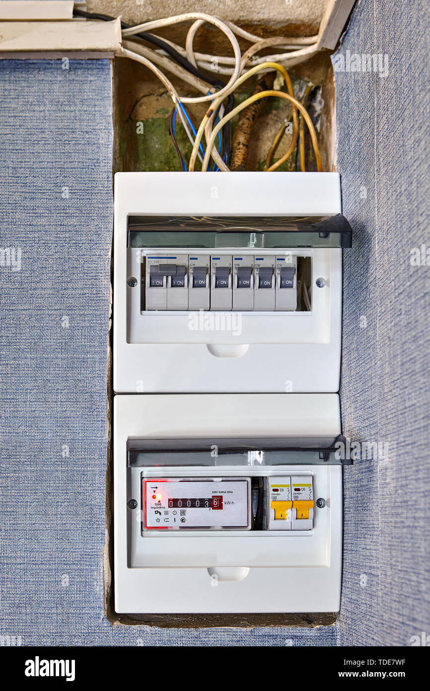 electrical safety in houses, modern electrical switchboard, fusebox, new  electronic electricity meter and