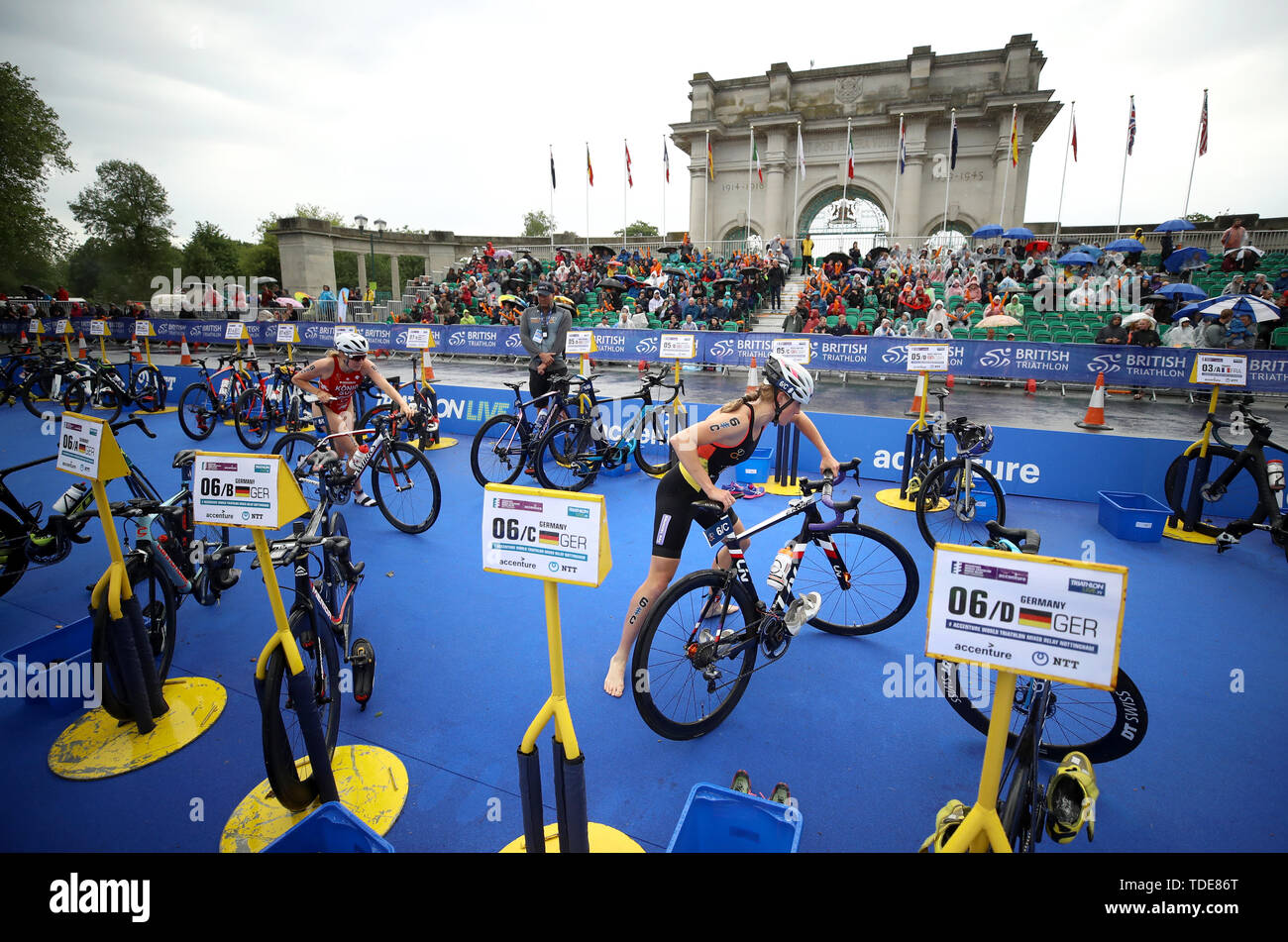 Germany's Caroline Pohle during the Accenture World Triathlon Mixed Relay at Nottingham Embankment. - Stock Image
