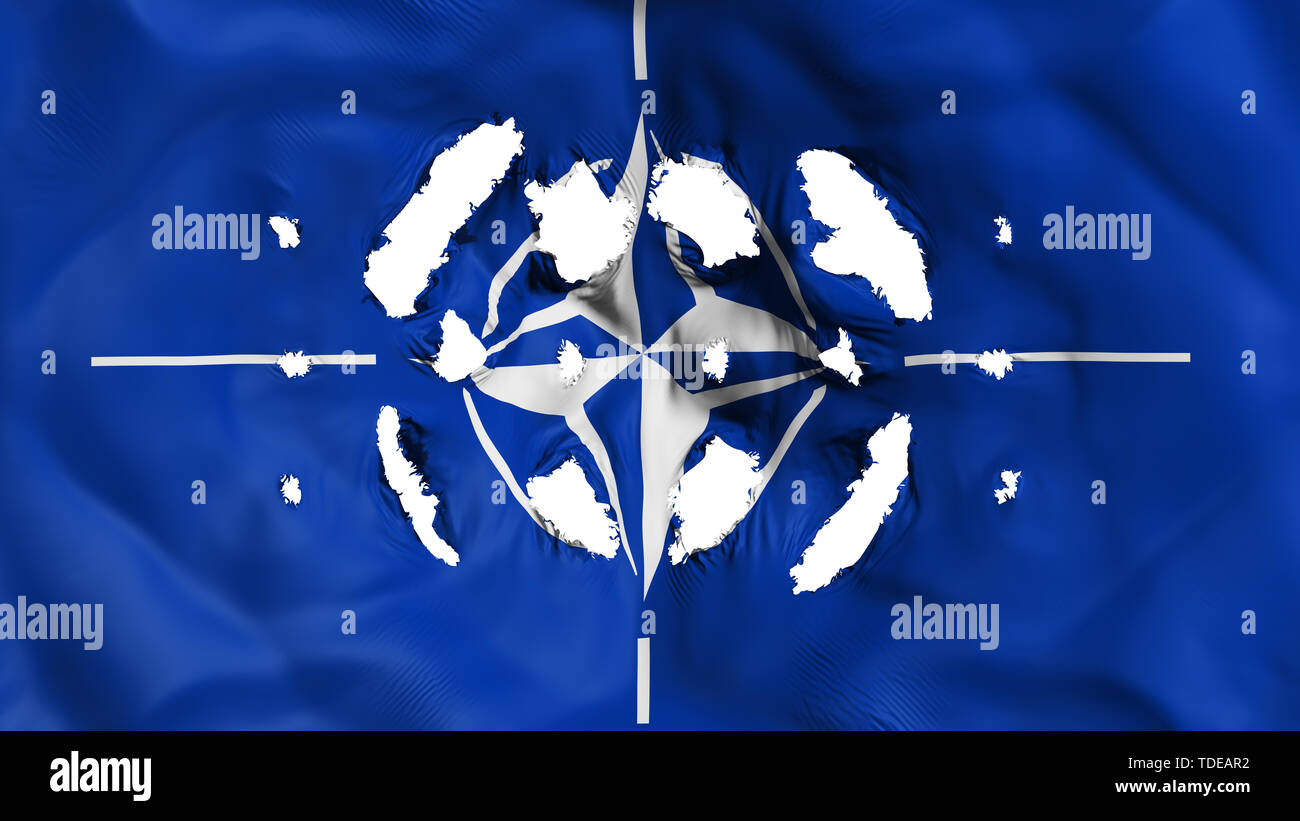 NATO flag with a small holes Stock Photo