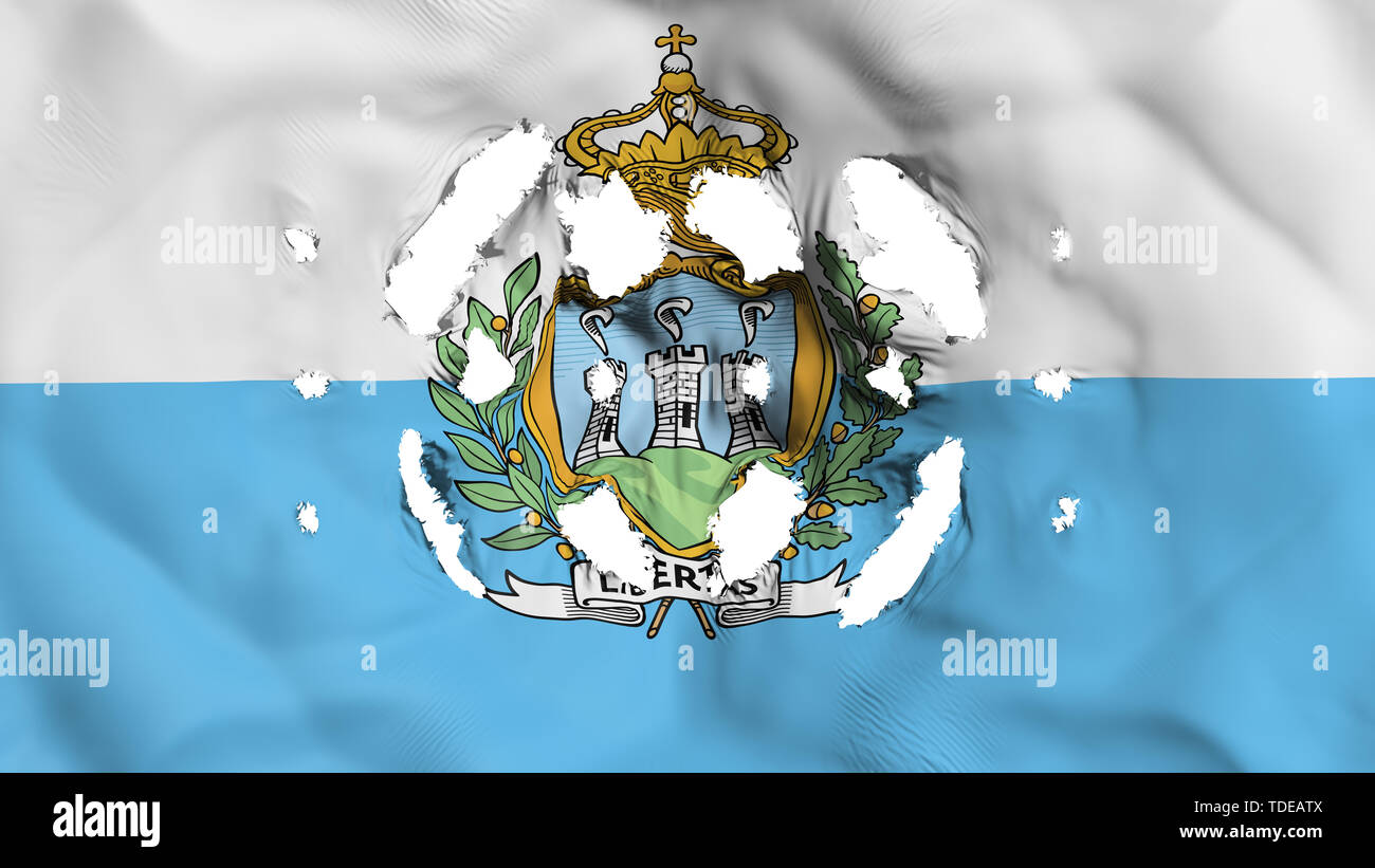 San Marino flag with a small holes, white background, 3d rendering - Stock Image